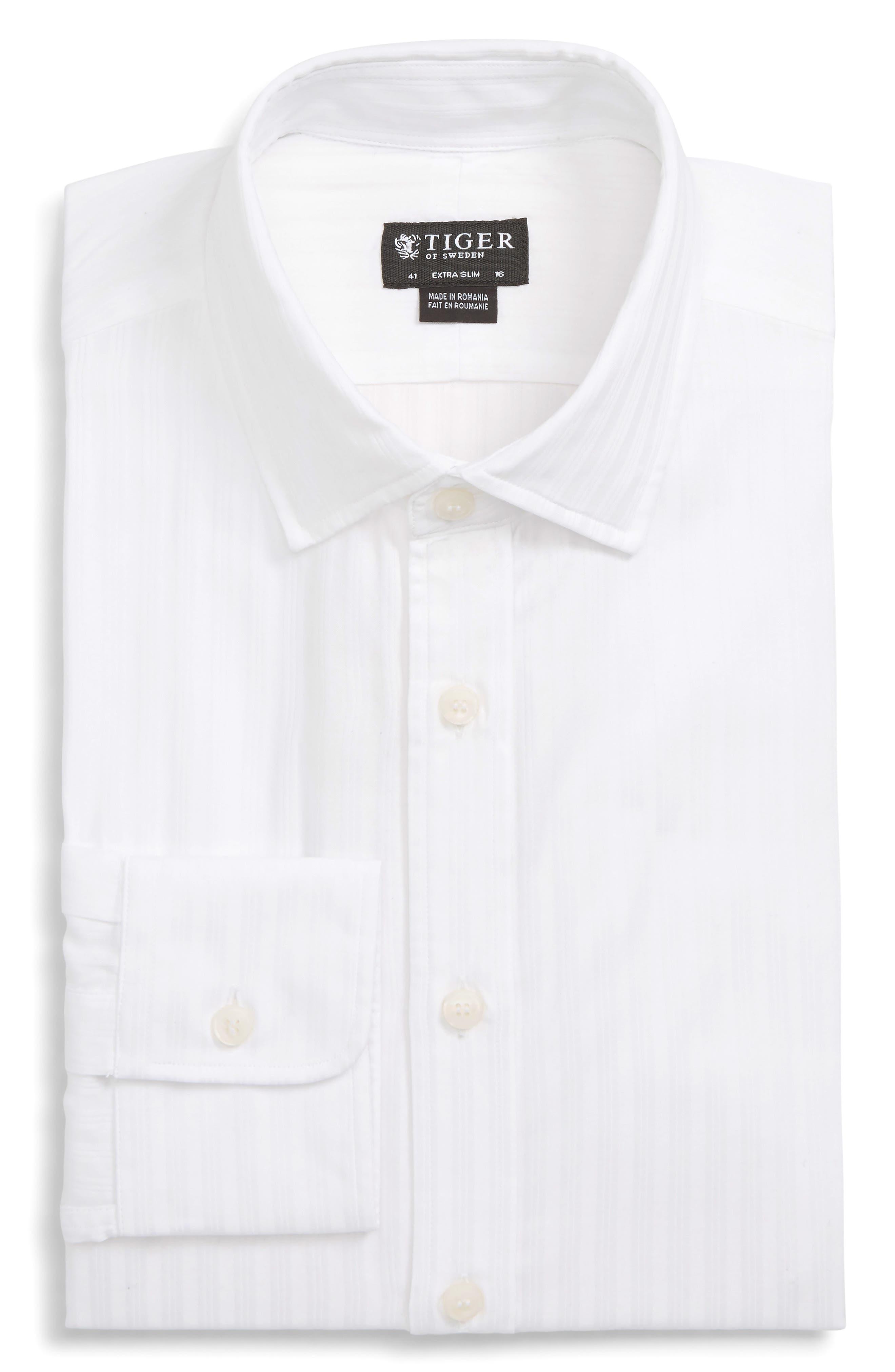 Fridolf Extra Slim Fit Tonal Stripe Dress Shirt,                             Main thumbnail 1, color,                             WHITE
