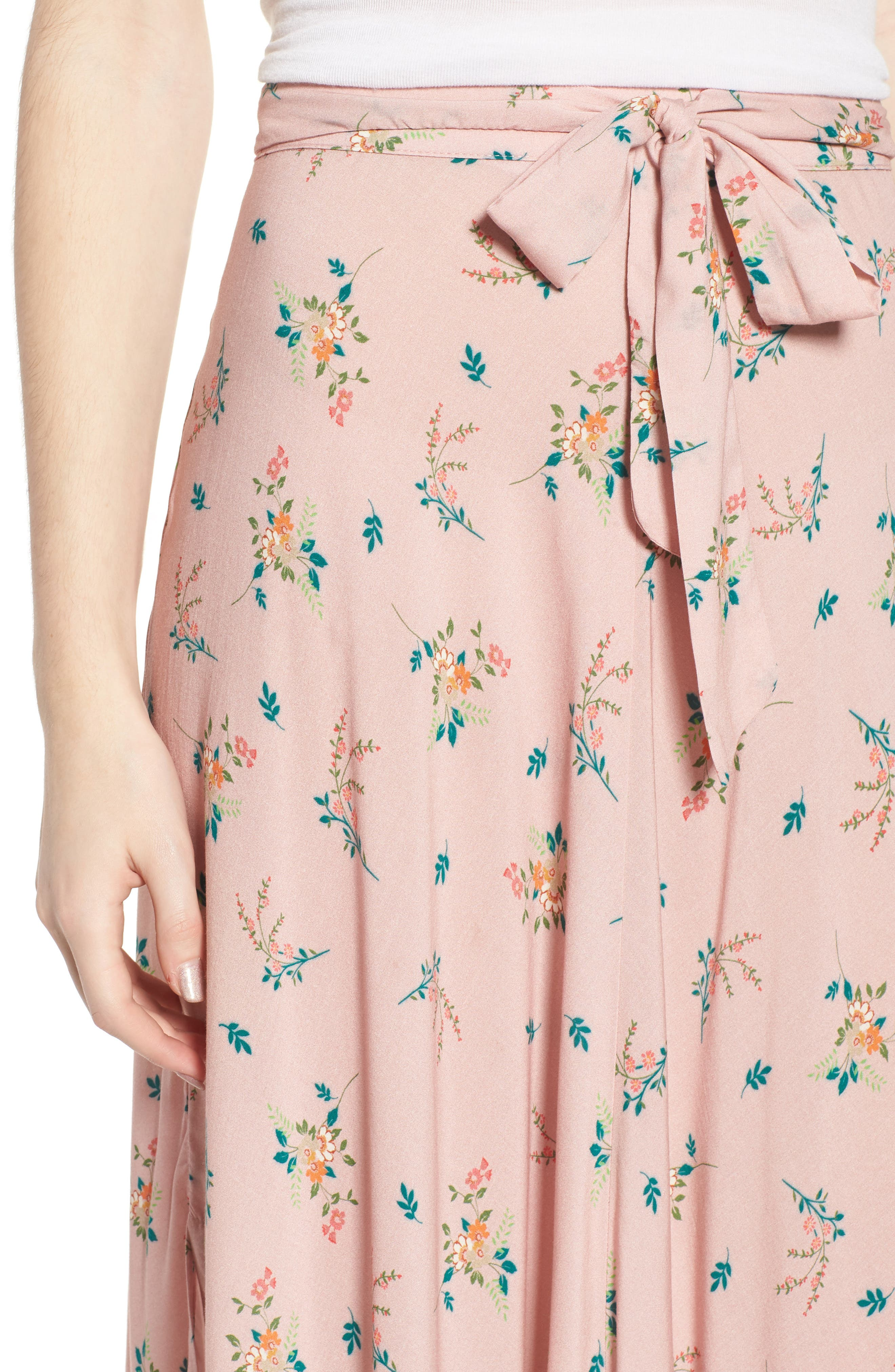 Floral Print Midi Skirt,                             Alternate thumbnail 4, color,                             657