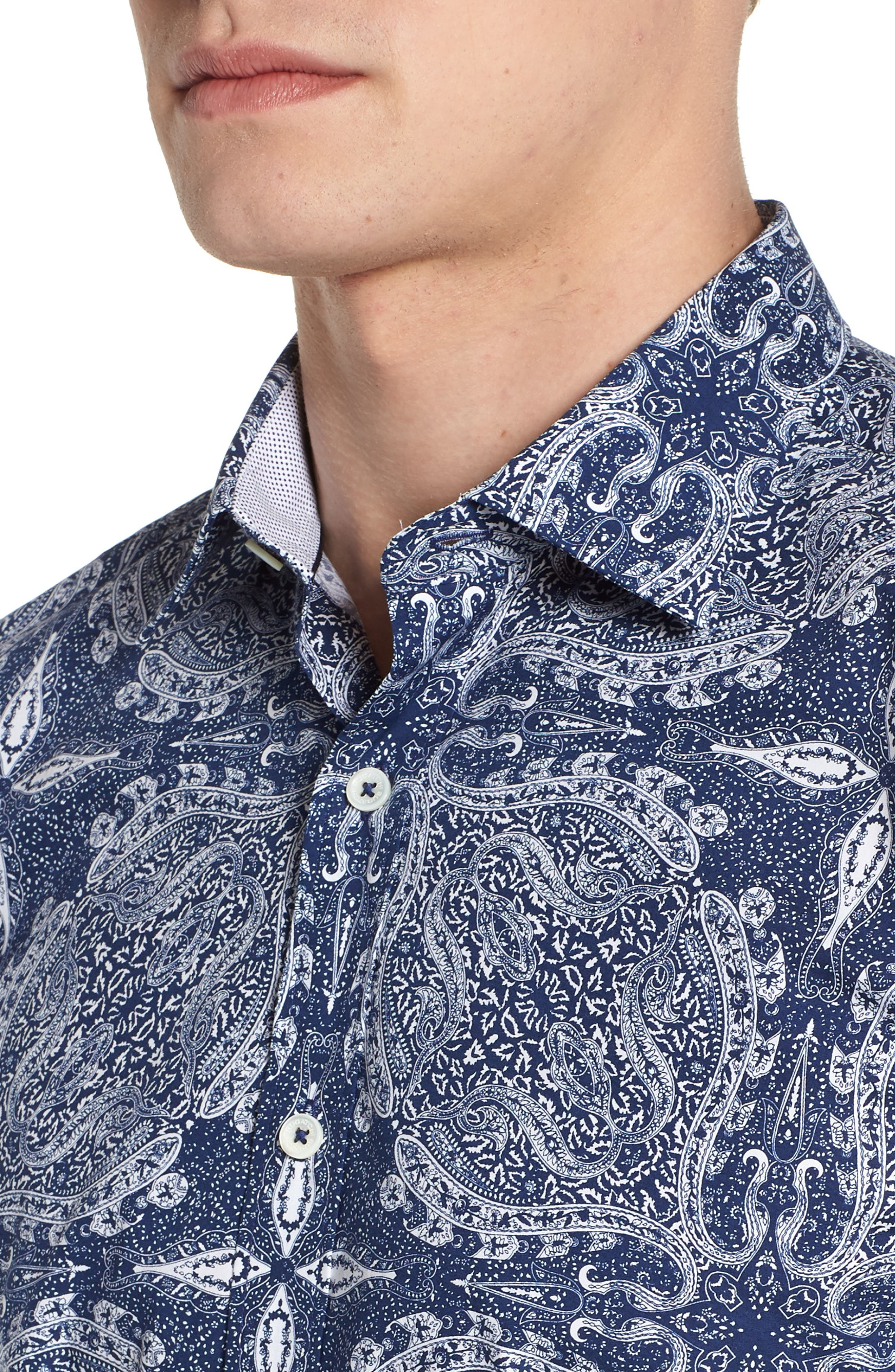 Shaped Fit Paisley Sport Shirt,                             Alternate thumbnail 4, color,                             NAVY