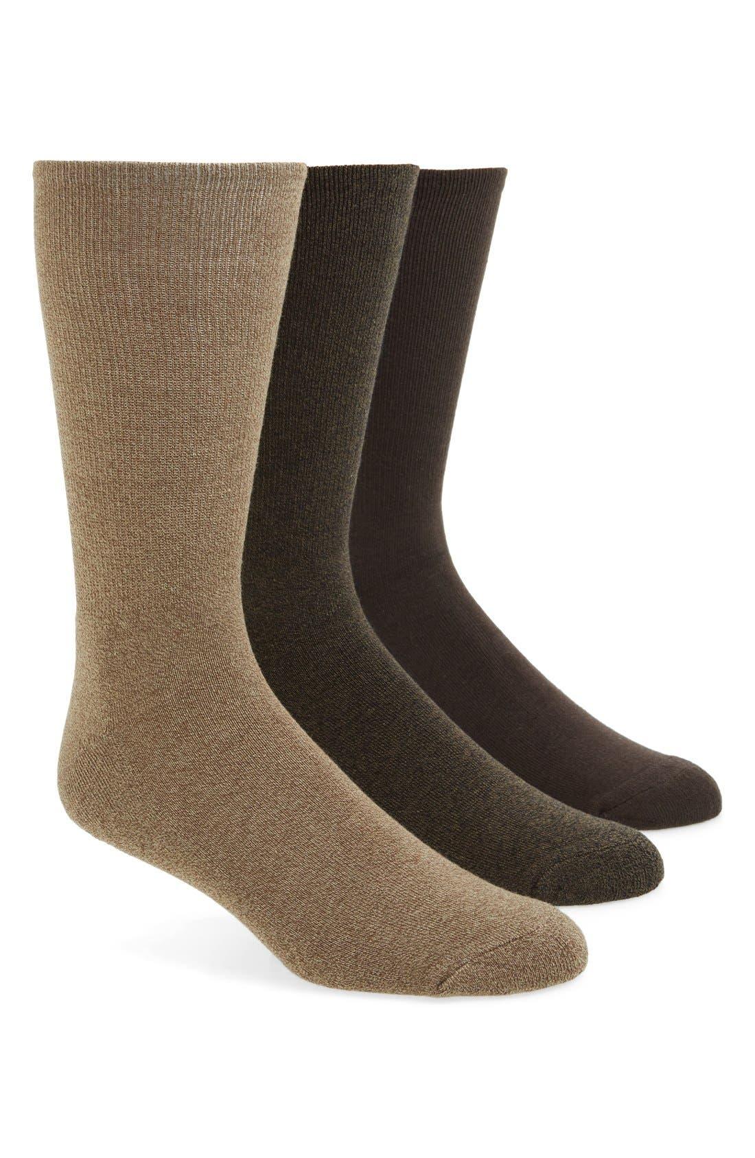 CALVIN KLEIN 3-Pack Cotton Blend Socks, Main, color, BEIGE