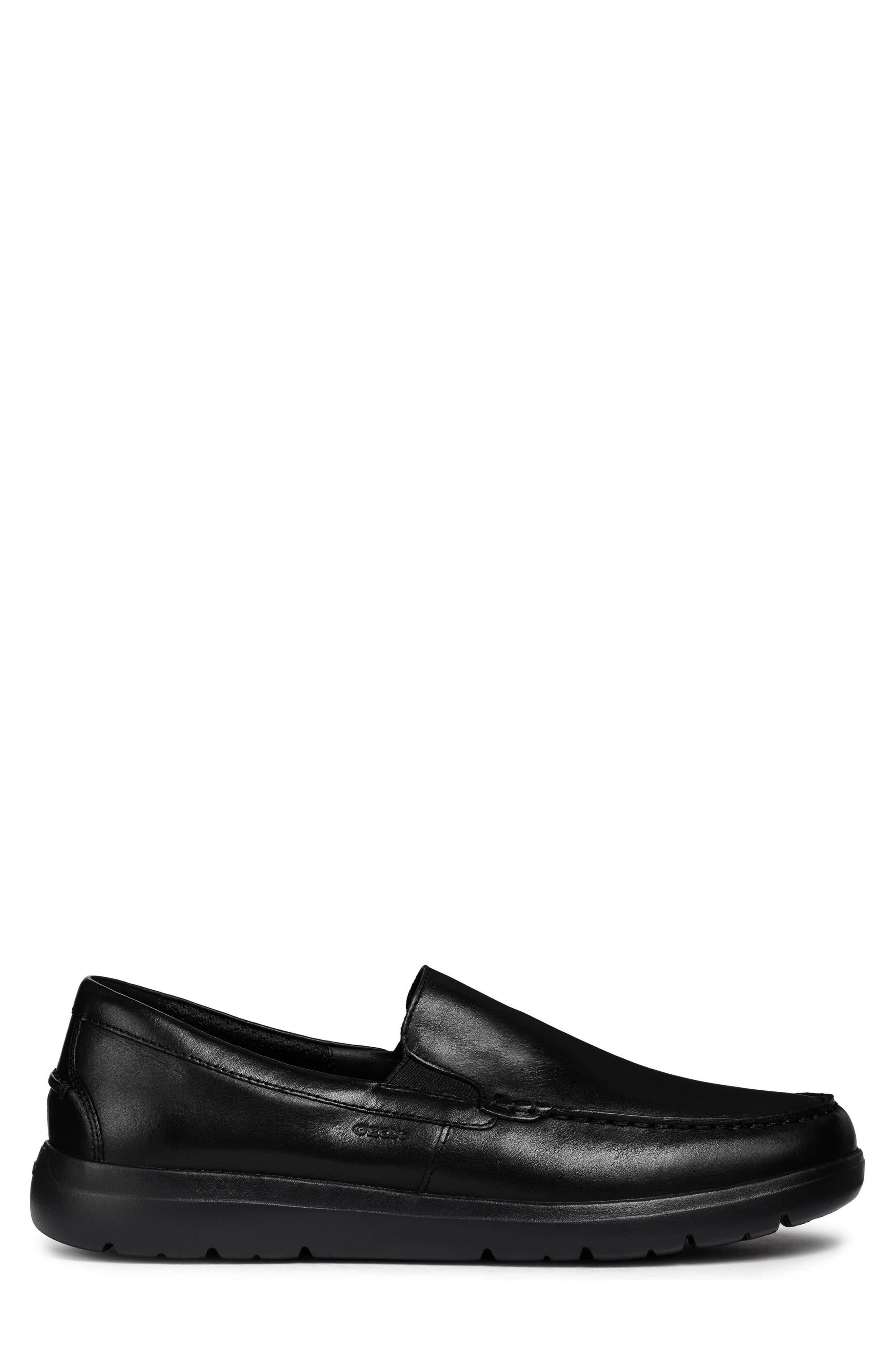 Leitan 6 Moc Toe Slip-On,                             Alternate thumbnail 3, color,                             BLACK LEATHER