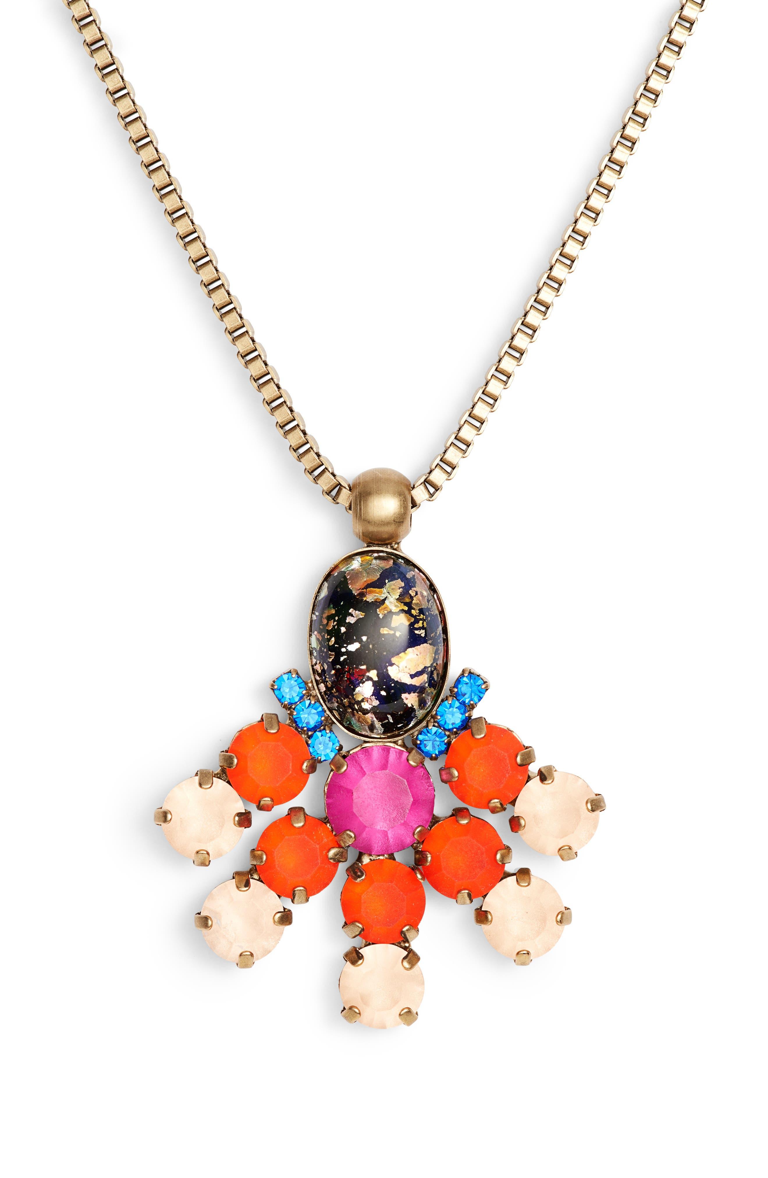 Lucy Long Pendant Necklace,                             Alternate thumbnail 2, color,                             GOLD MULTI