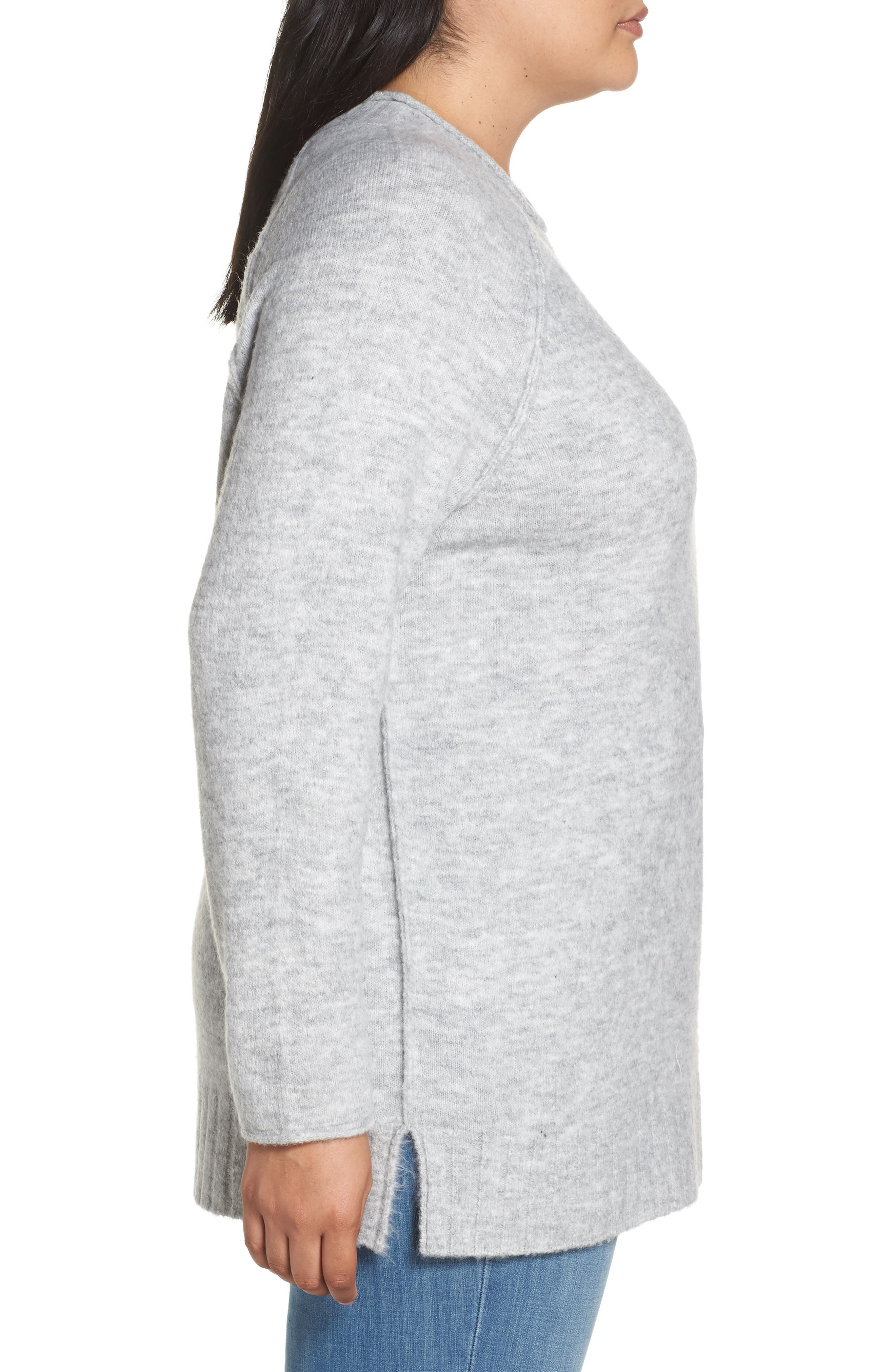 Cozy Crewneck Sweater,                             Alternate thumbnail 3, color,                             GREY HEATHER