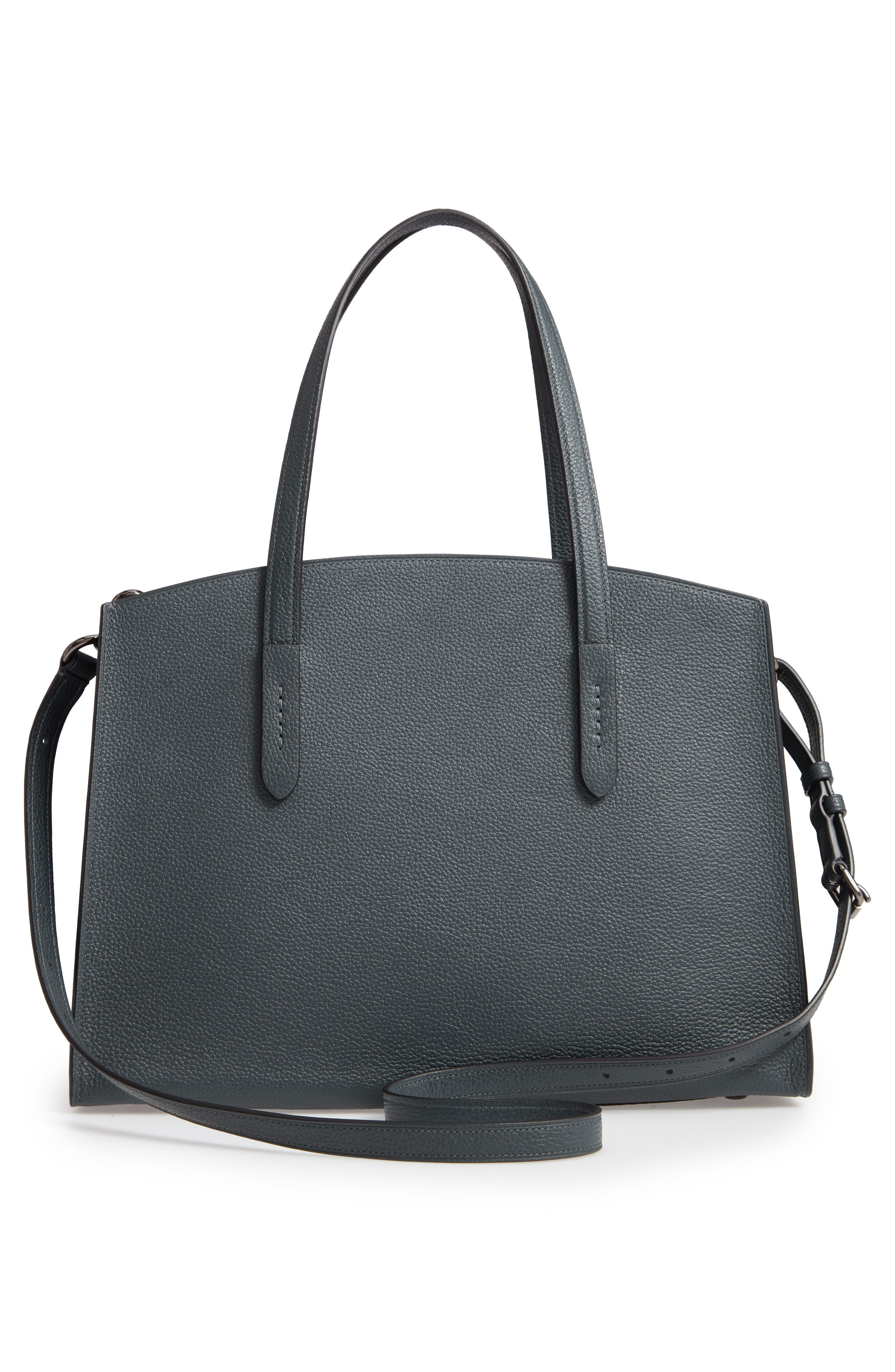 Charlie Leather Tote,                             Alternate thumbnail 3, color,                             CYPRESS