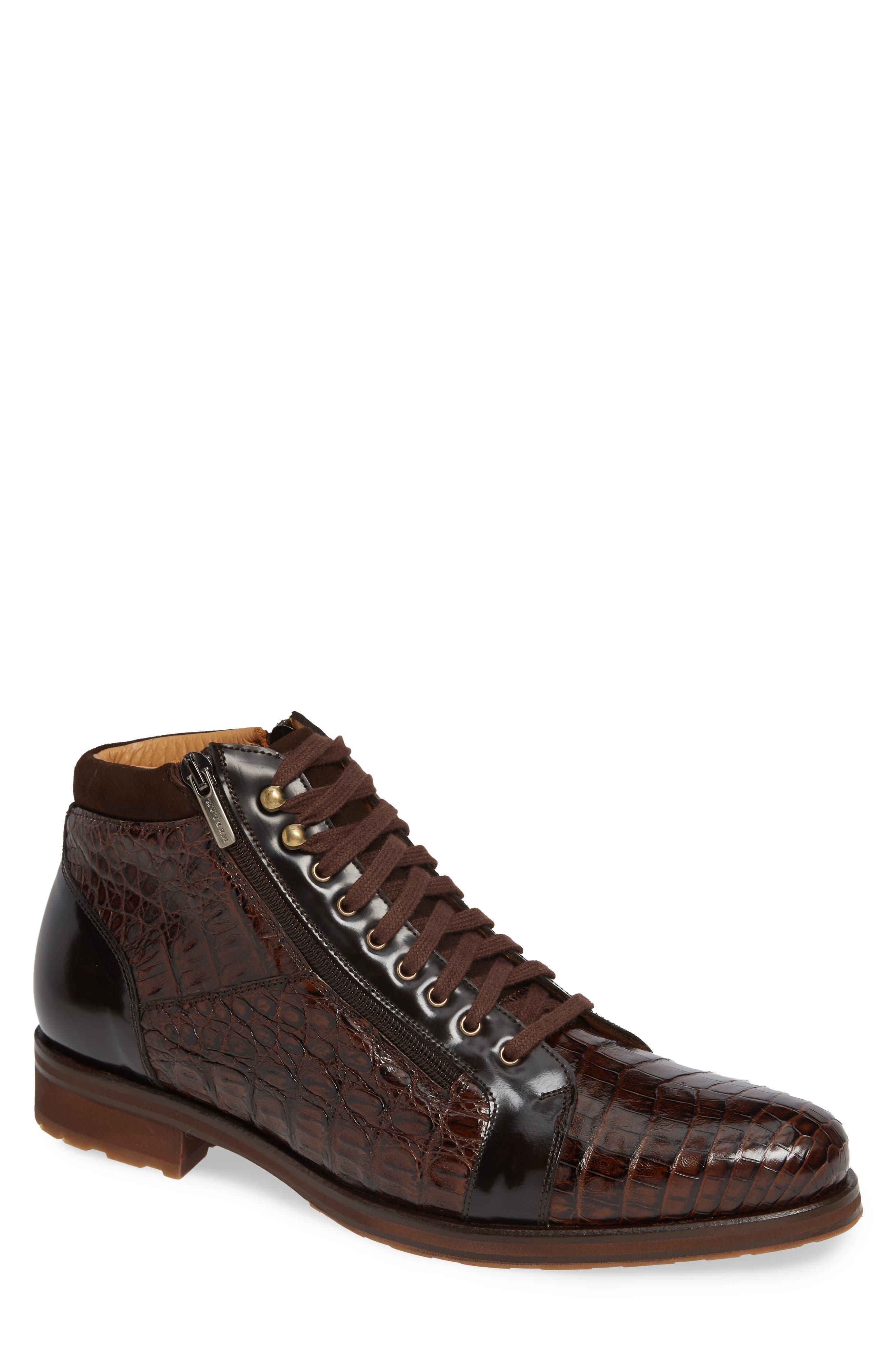 Manson Genuine Crocodile Boot,                         Main,                         color, BROWN LEATHER