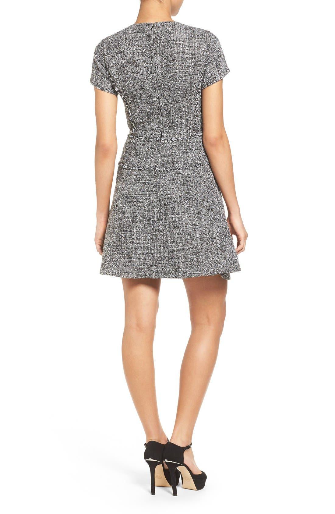 MICHAEL MICHAEL KORS,                             Tweed Fit & Flare Dress,                             Alternate thumbnail 5, color,                             001