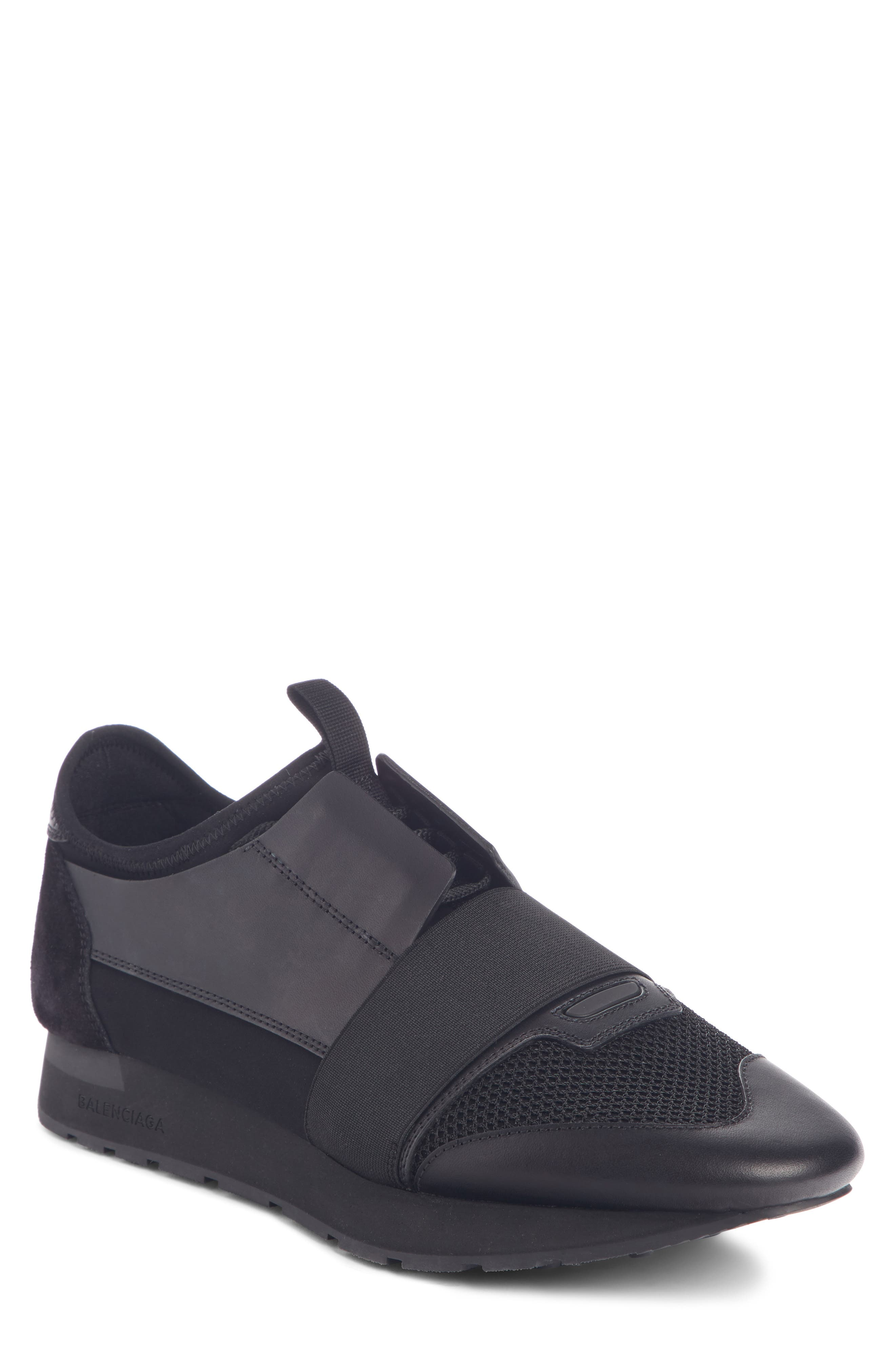 BALENCIAGA,                             Race Runner Sneaker,                             Main thumbnail 1, color,                             BLACK/ BLACK/ BLACK
