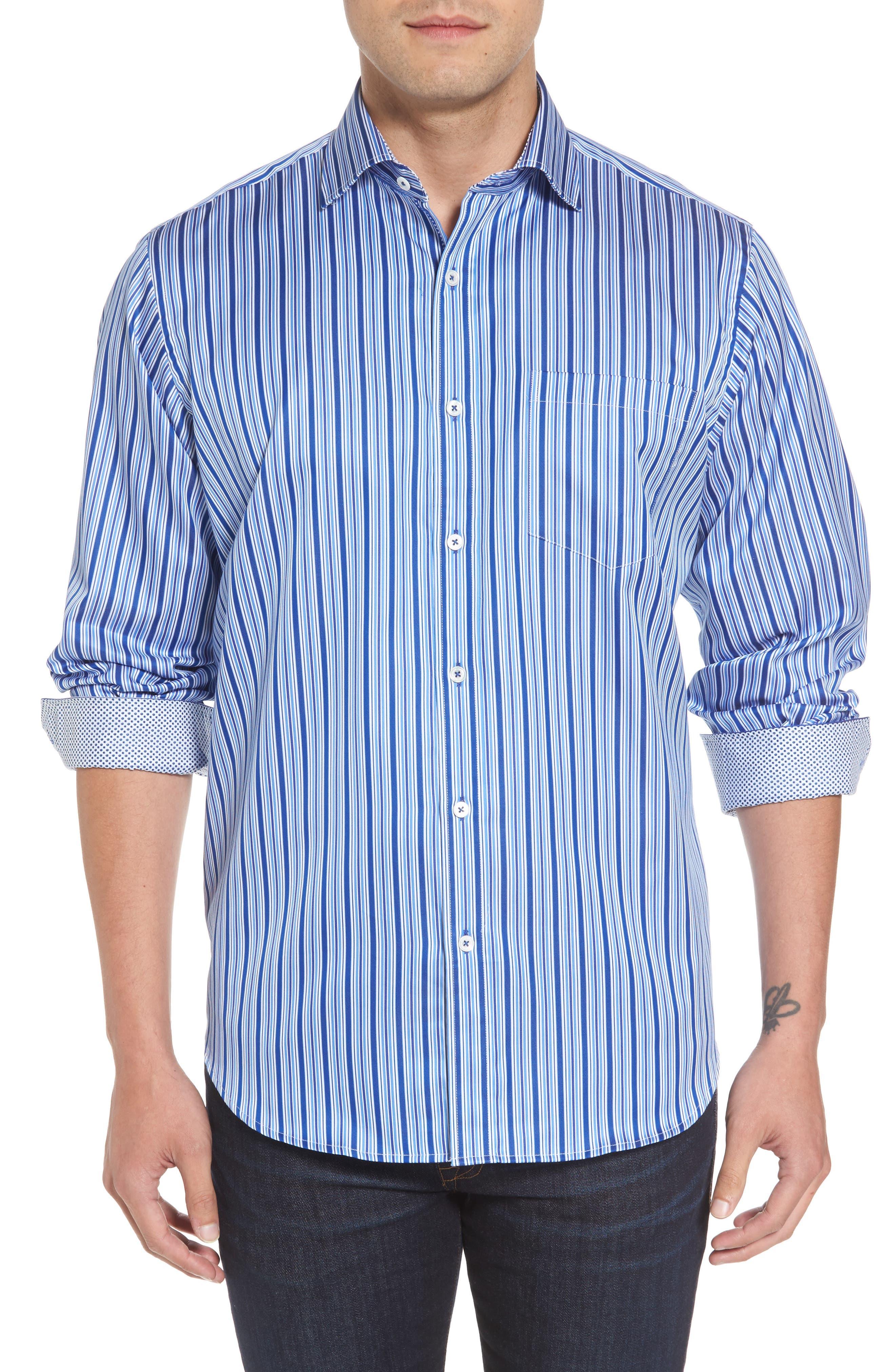 Classic Fit Stripe Sport Shirt,                         Main,                         color, 422