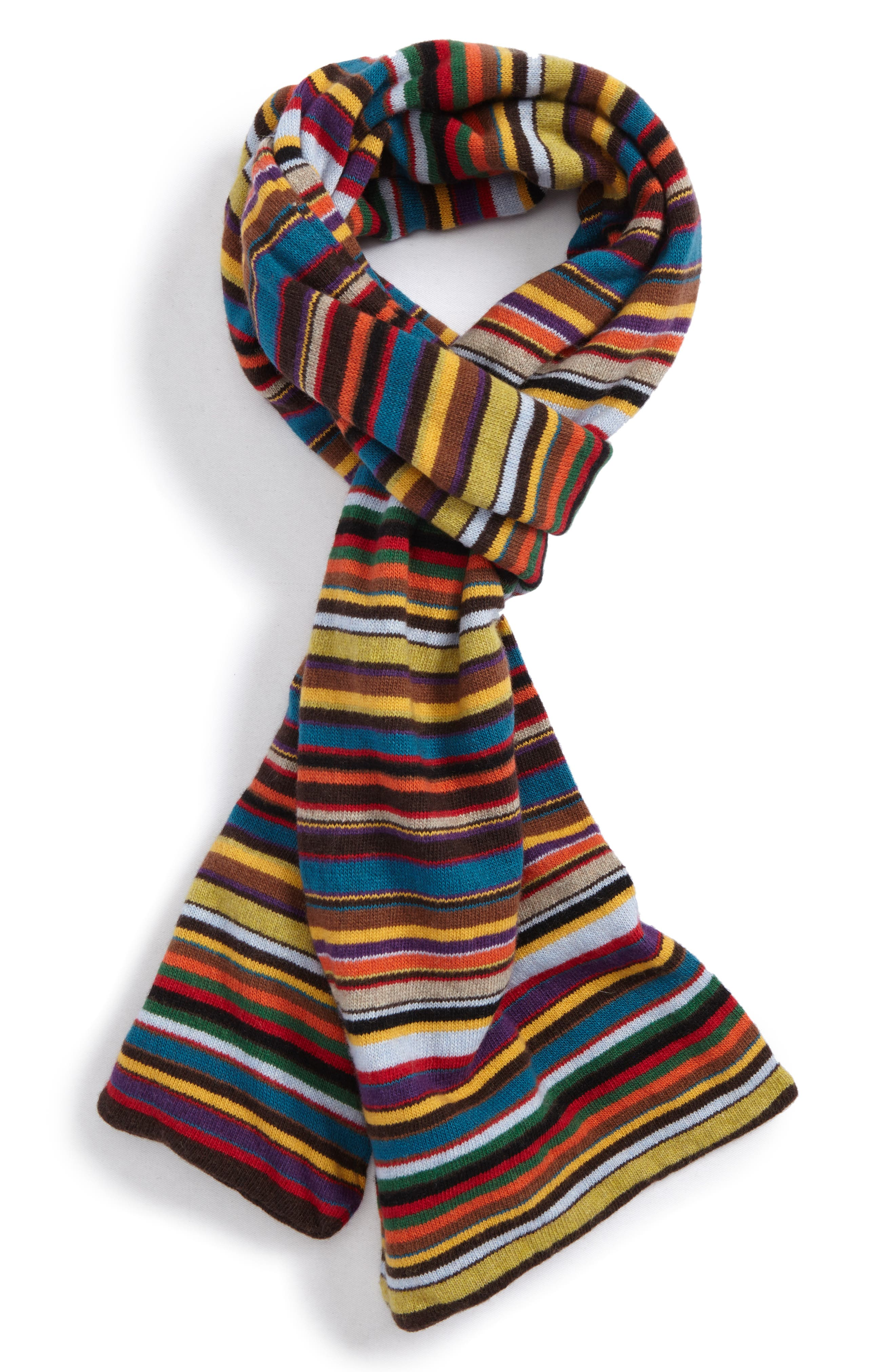 Multistripe Knit Scarf,                             Main thumbnail 1, color,                             001