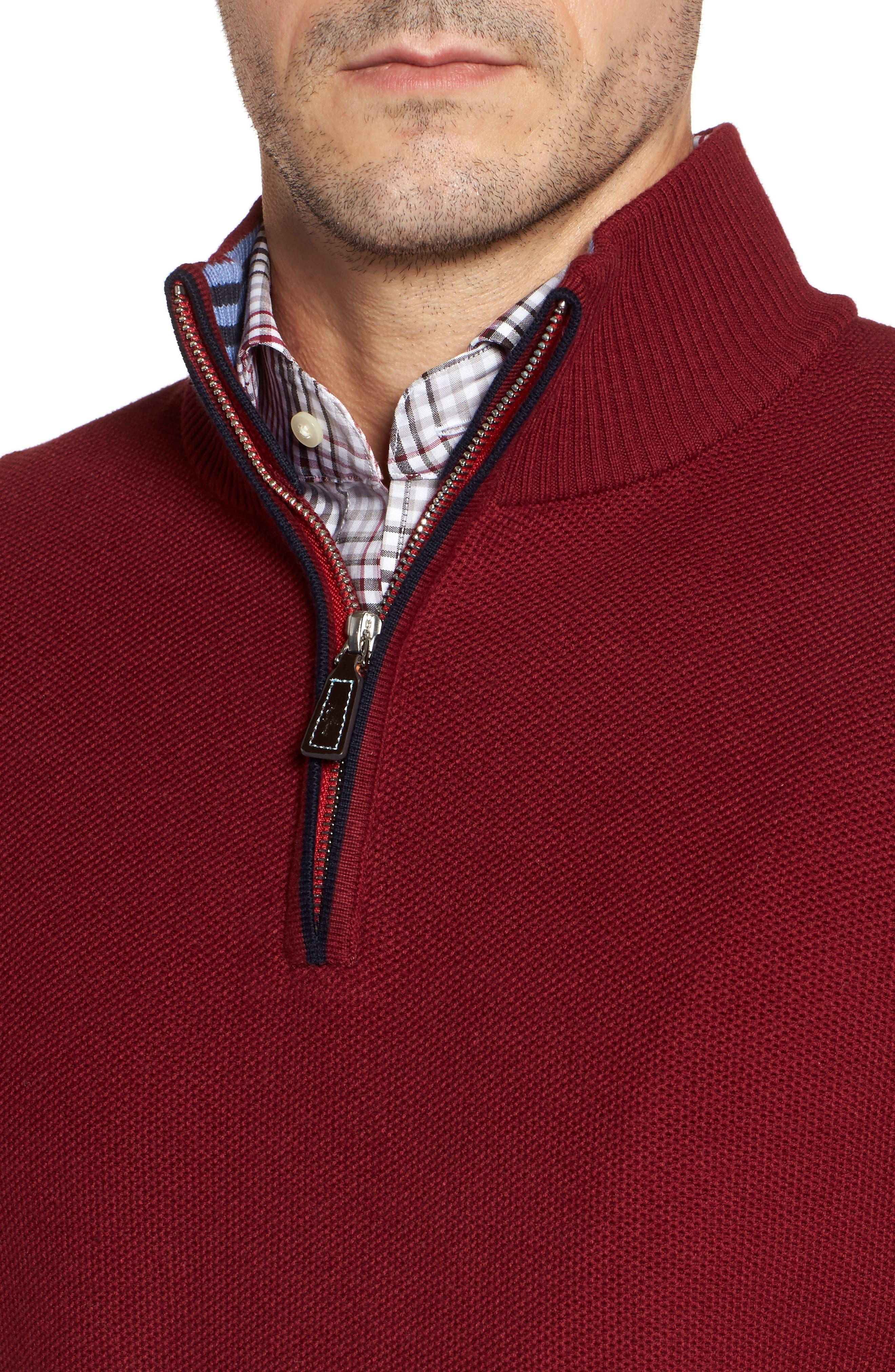 Prien Tipped Quarter Zip Sweater,                             Alternate thumbnail 4, color,                             600