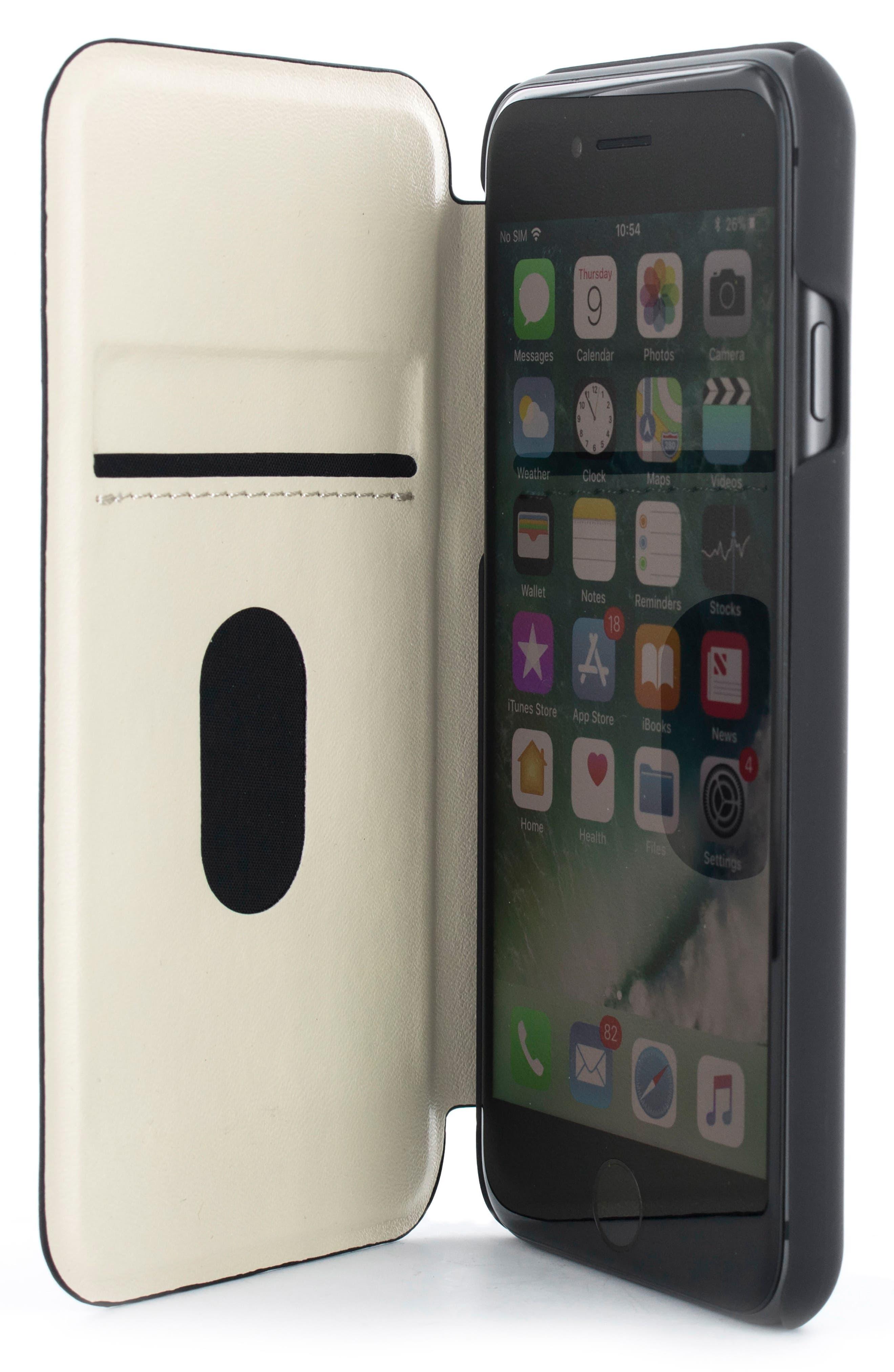 Callst Faux Leather iPhone 6/6s/7/8 Plus Folio Case,                             Alternate thumbnail 2, color,                             BLACK