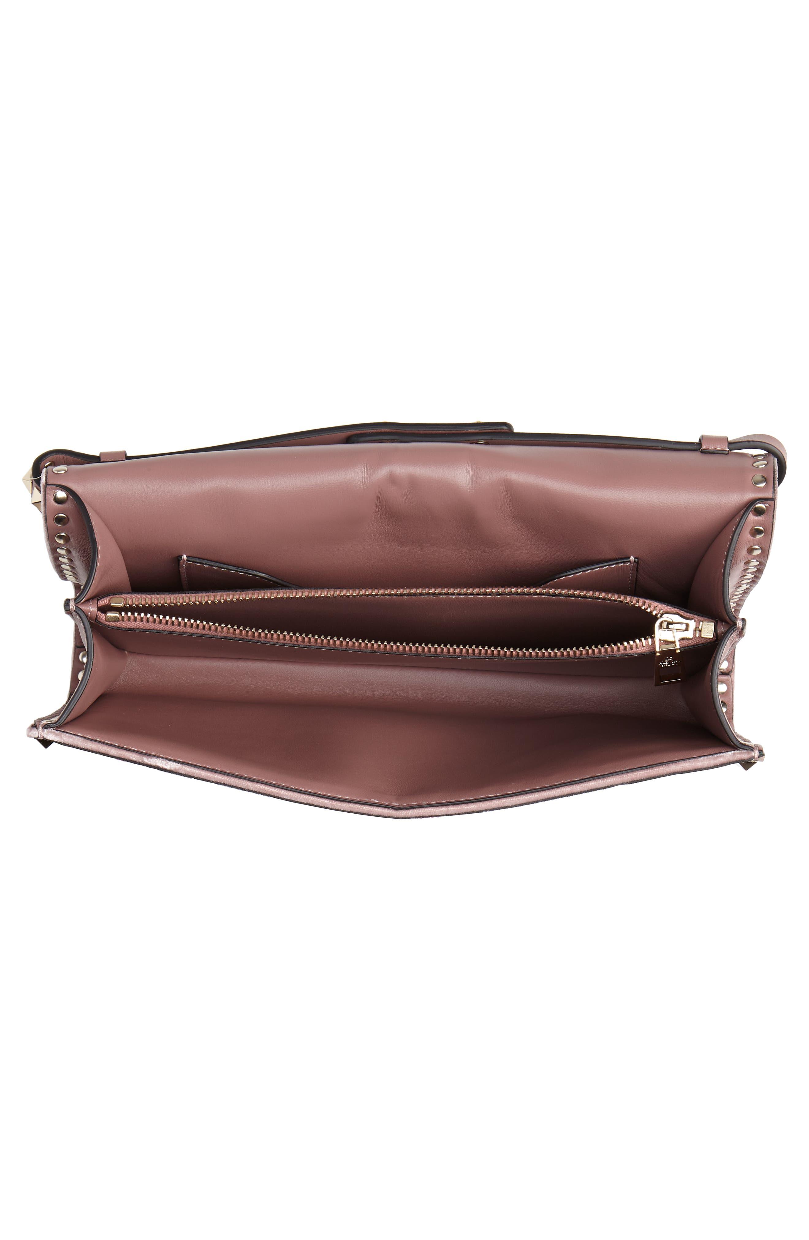 VALENTINO GARAVANI,                             Patchwork Butterfly Leather & Textile Shoulder Bag,                             Alternate thumbnail 4, color,                             LIP