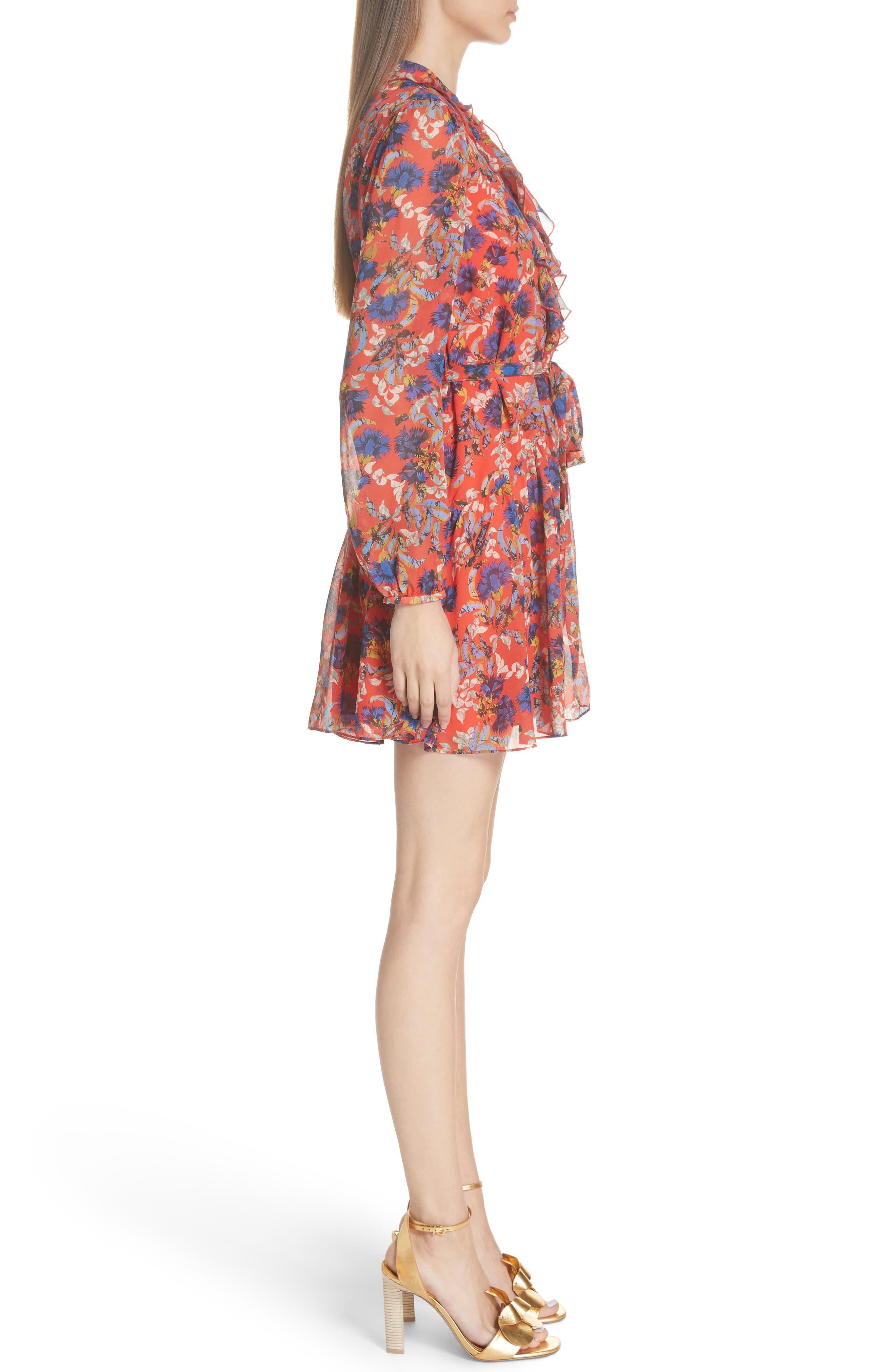 Tilly Ruffle Bib Silk Dress,                             Alternate thumbnail 3, color,                             FLAME AZALEA