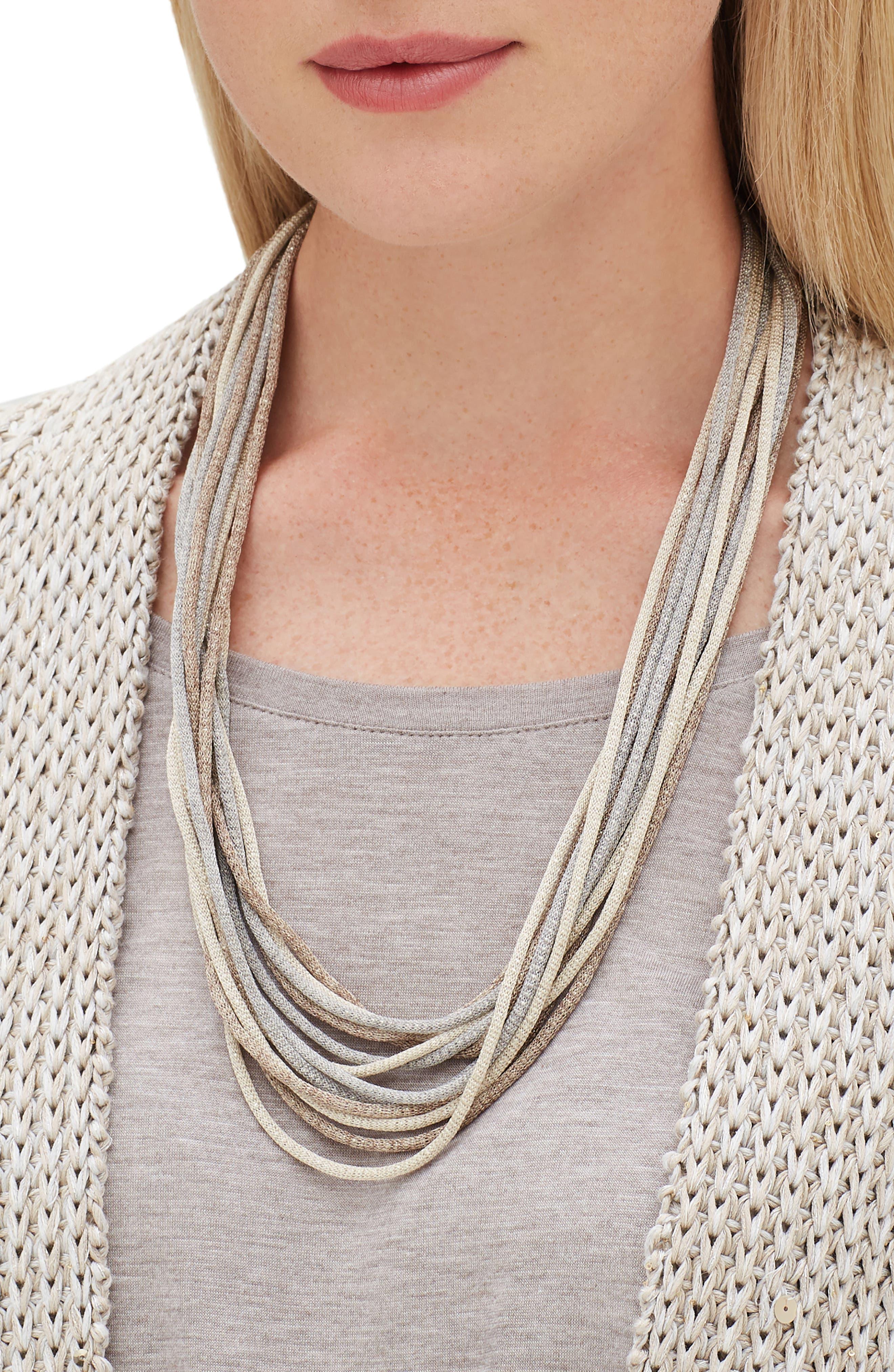 Mesh Chain Multistrand Necklace,                             Alternate thumbnail 2, color,                             NICKEL MULTI