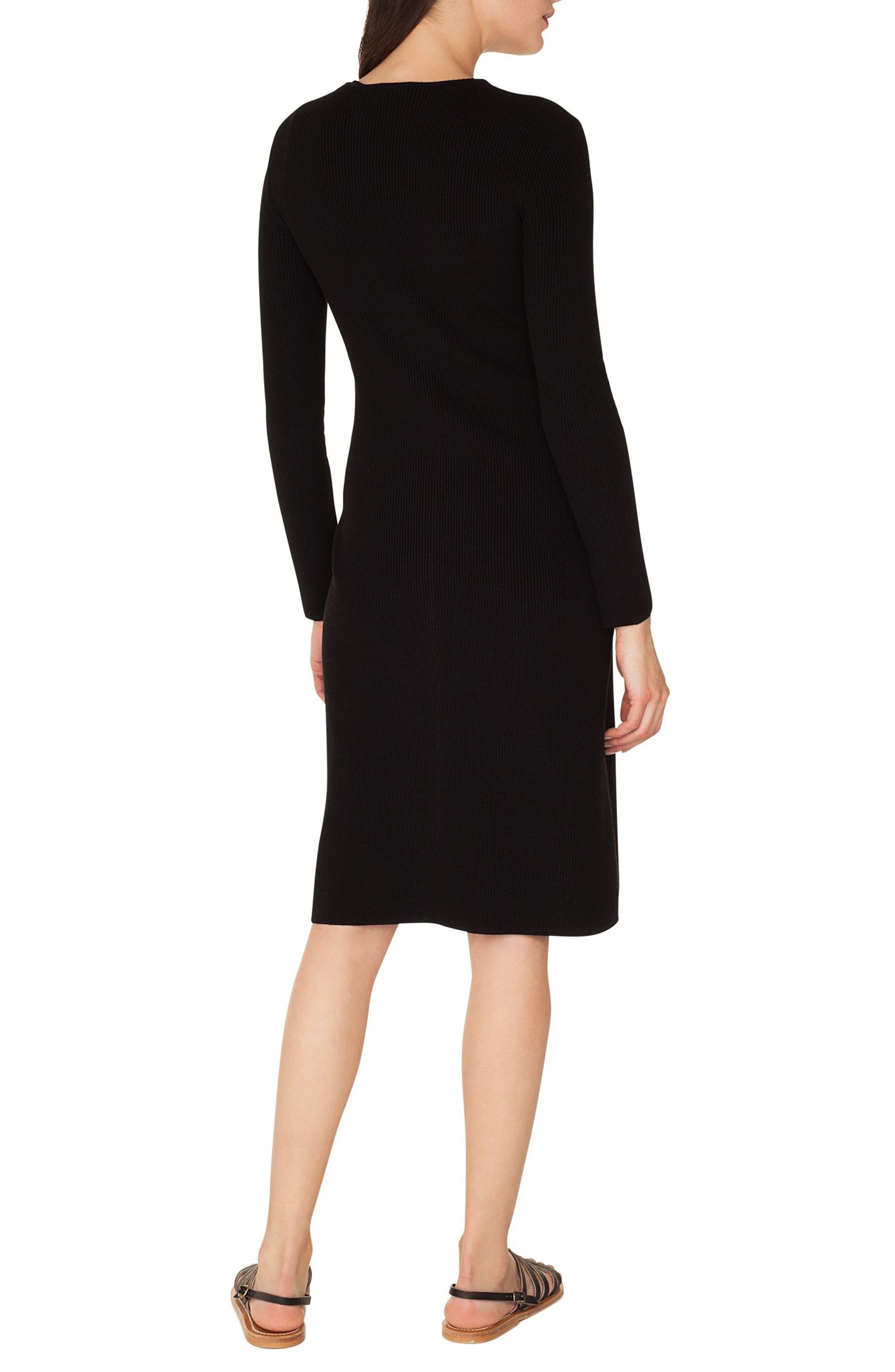 Rib Knit Stretch Wool & Silk Dress,                             Alternate thumbnail 2, color,                             BLACK