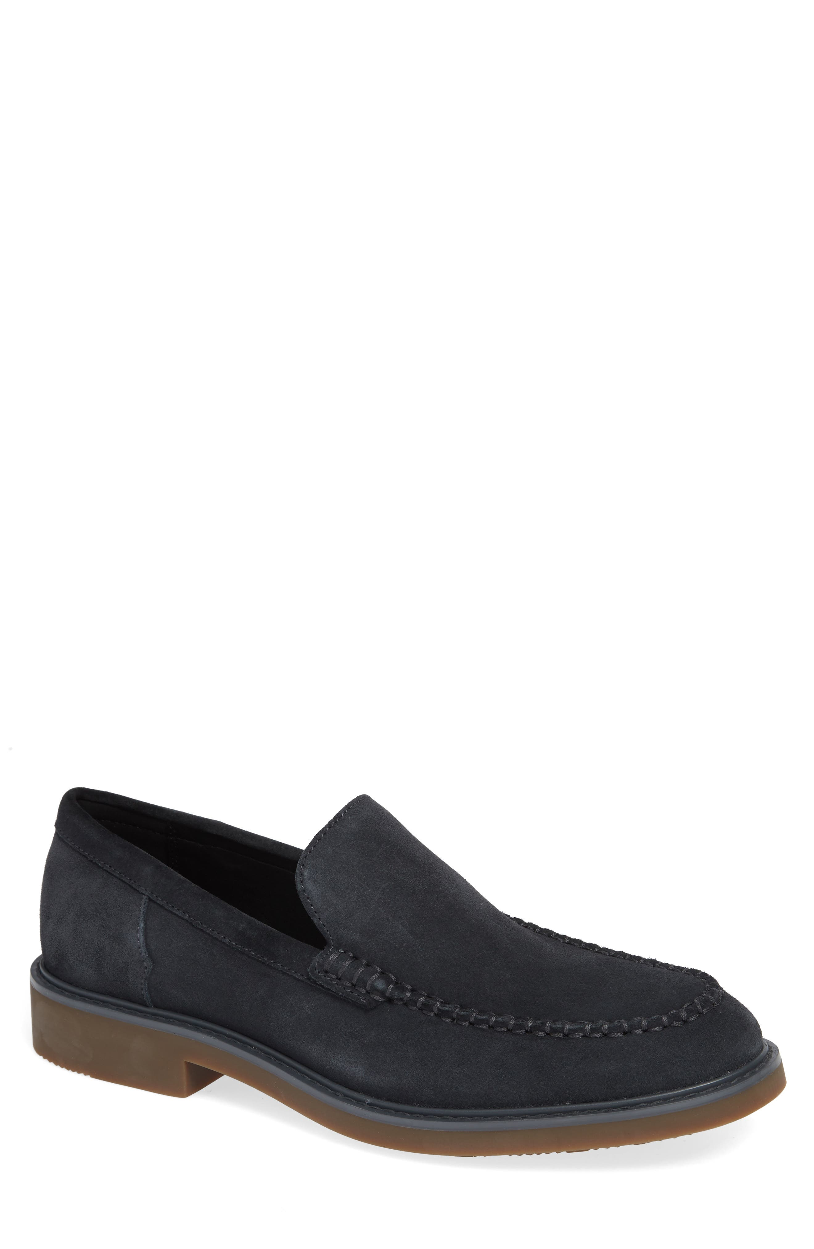 Vance Apron Toe Loafer,                             Main thumbnail 1, color,                             STEEL GREYSTONE CALF SUEDE