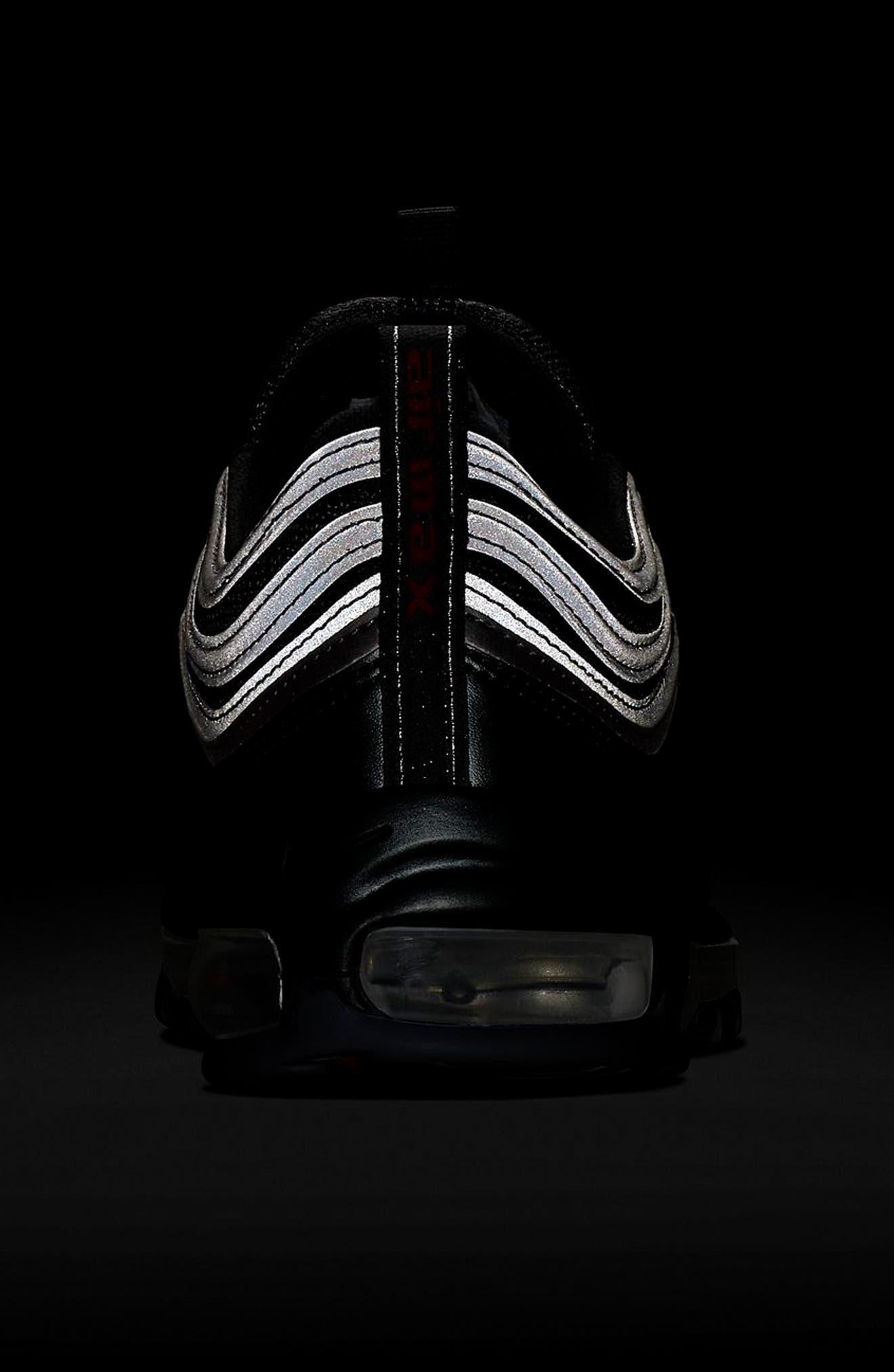 Air Max 97 QS Sneaker,                             Alternate thumbnail 9, color,                             BLACK/ VARSITY RED/ SILVER