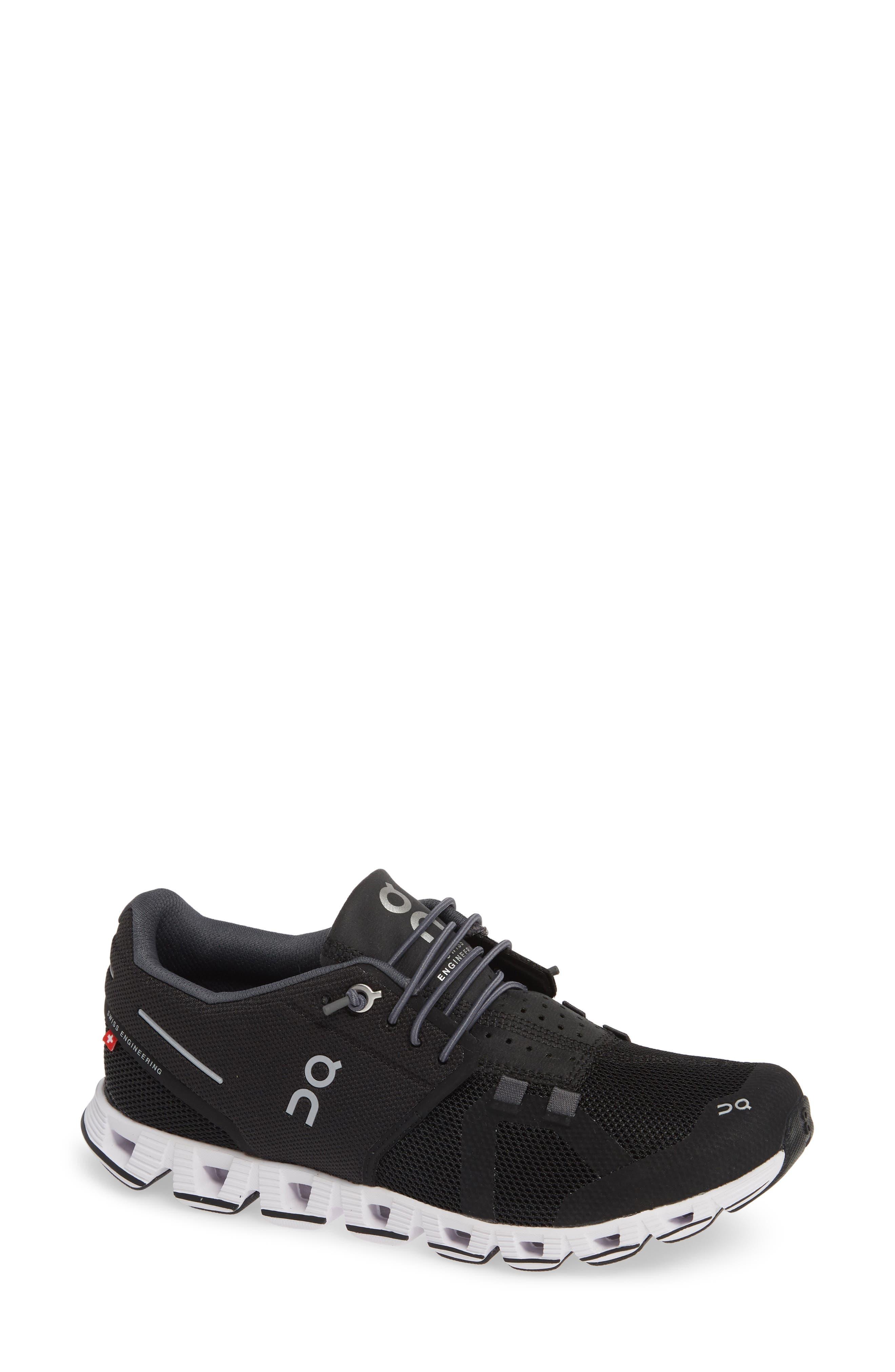 Cloud Running Shoe,                             Main thumbnail 1, color,                             BLACK/ WHITE