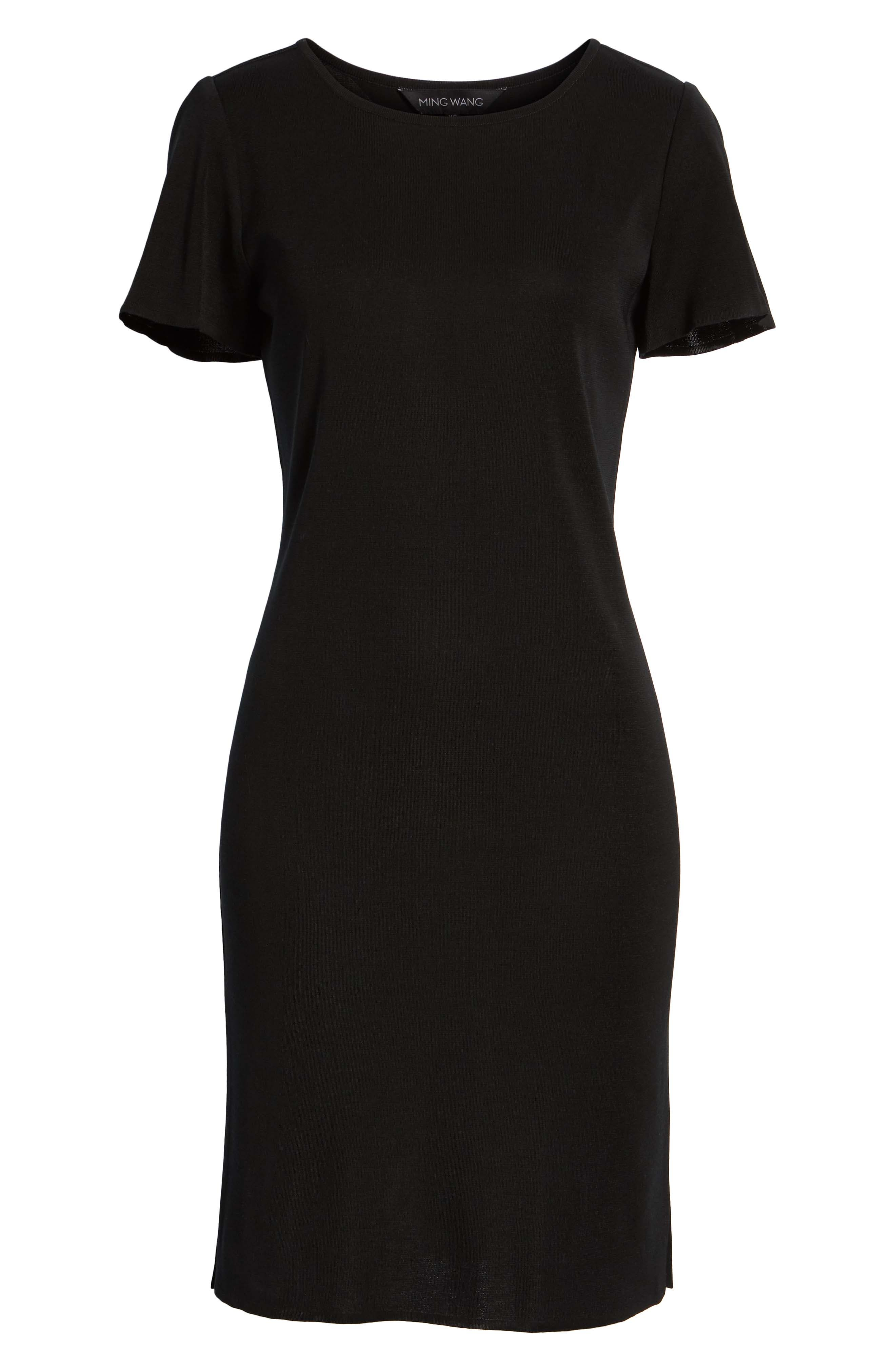 Short Sleeve Dress,                             Alternate thumbnail 7, color,                             BLACK