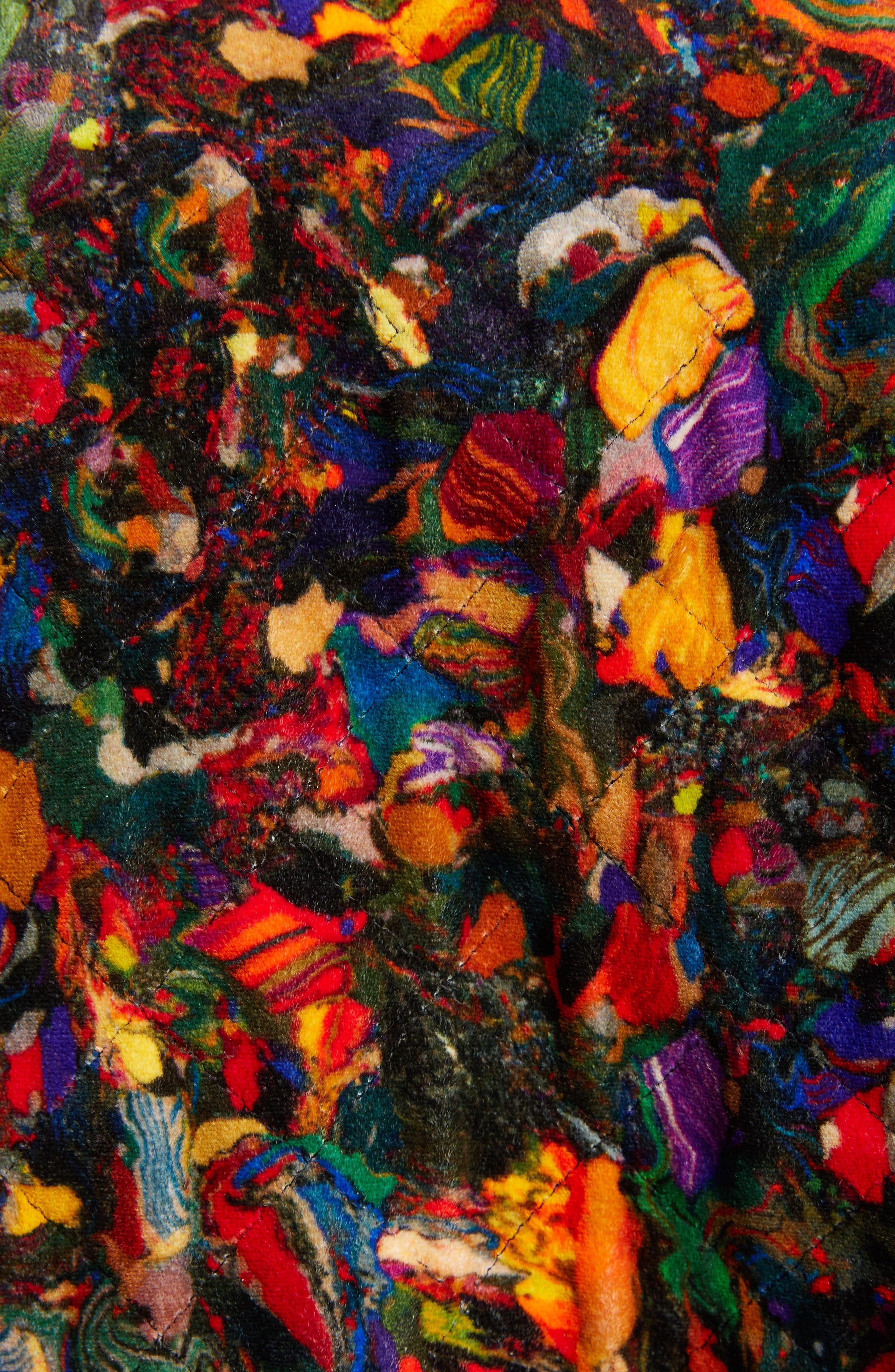 Mix Print Quilted Velvet Coat,                             Alternate thumbnail 5, color,                             600