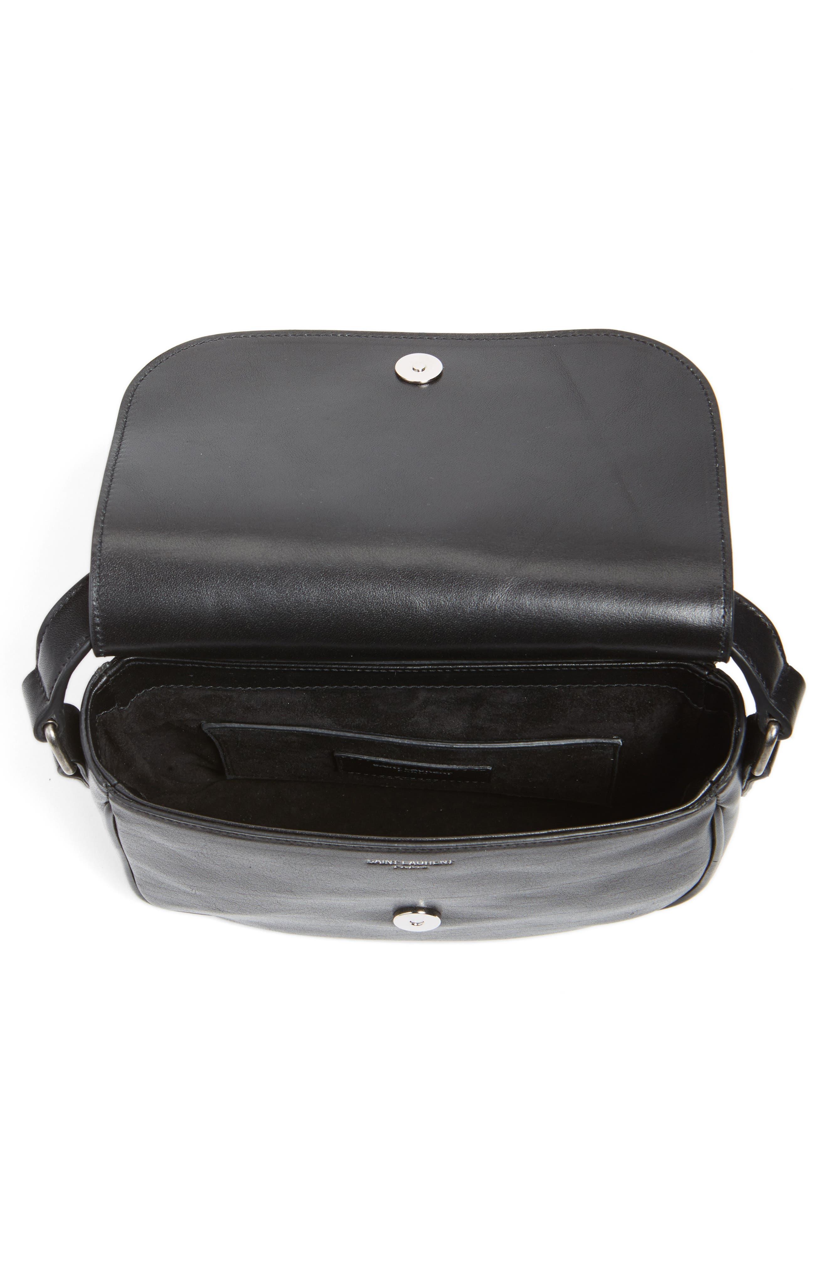 'Small Kim' Calfskin Crossbody Bag,                             Alternate thumbnail 6, color,                             001