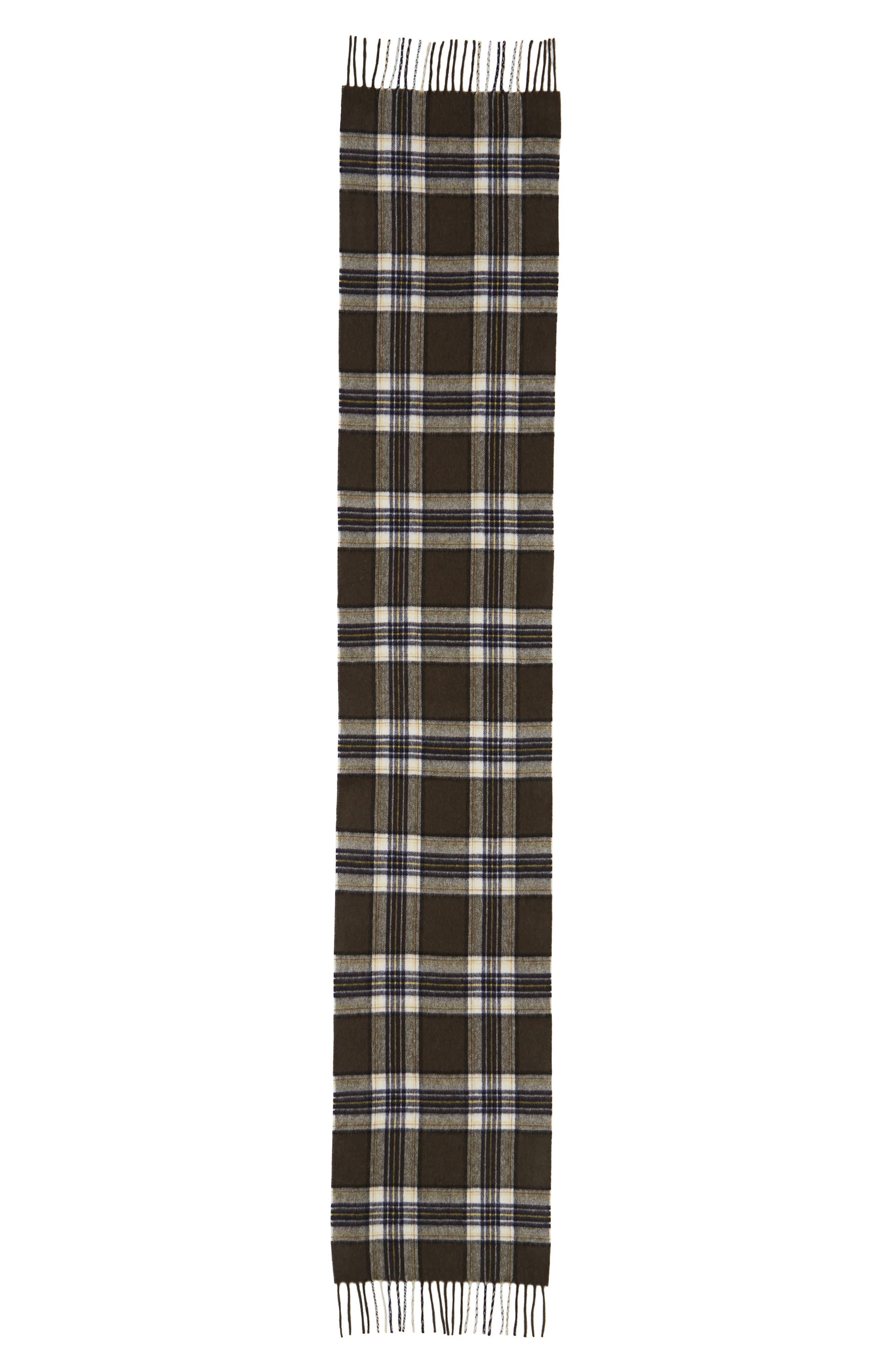 Olive Plaid Cashmere Scarf,                             Alternate thumbnail 2, color,                             300