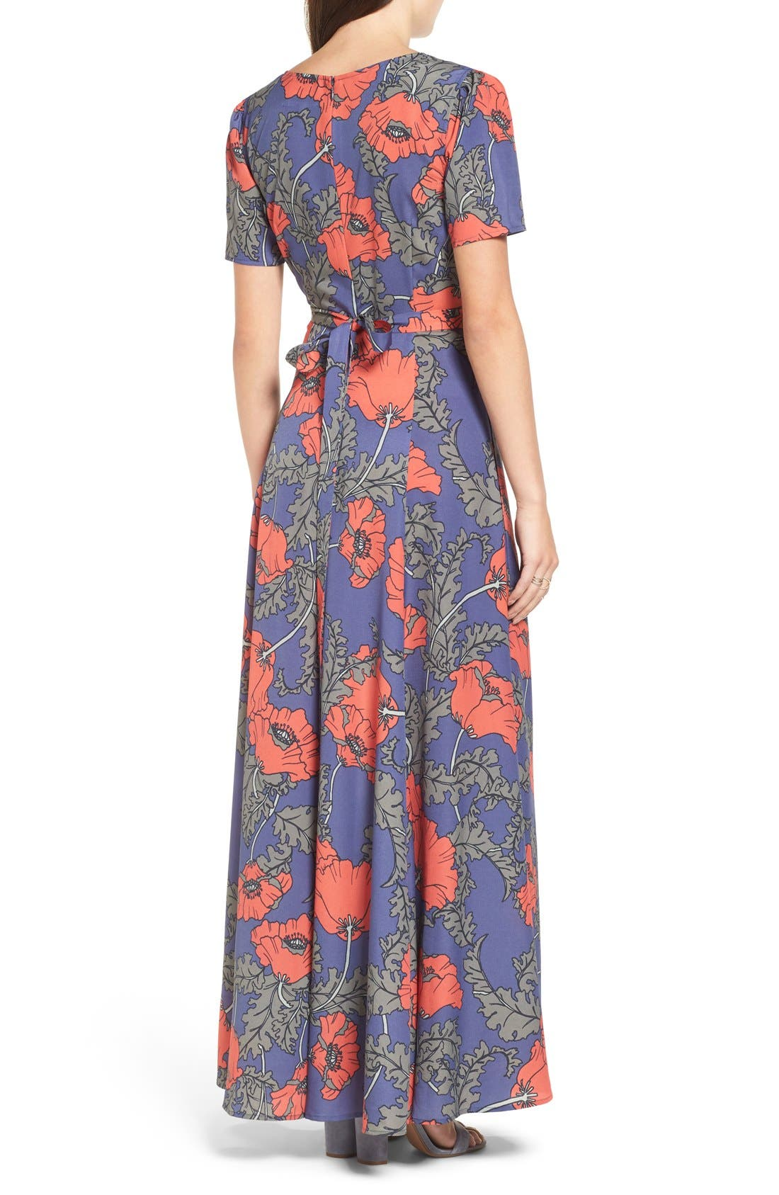 'Desi' Floral Print Maxi Dress,                             Alternate thumbnail 6, color,                             400