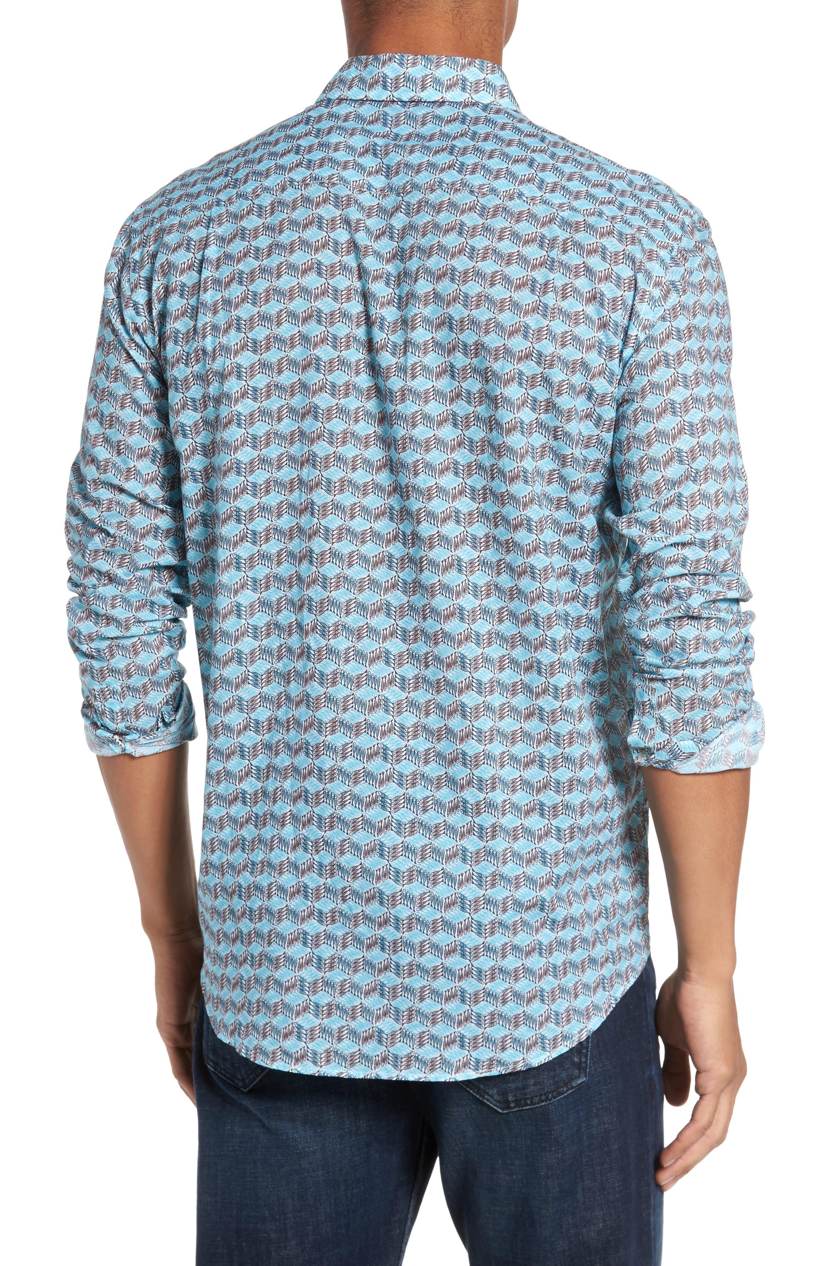 Cubed Fish Cotton Voile Sport Shirt,                             Alternate thumbnail 2, color,                             AZURE