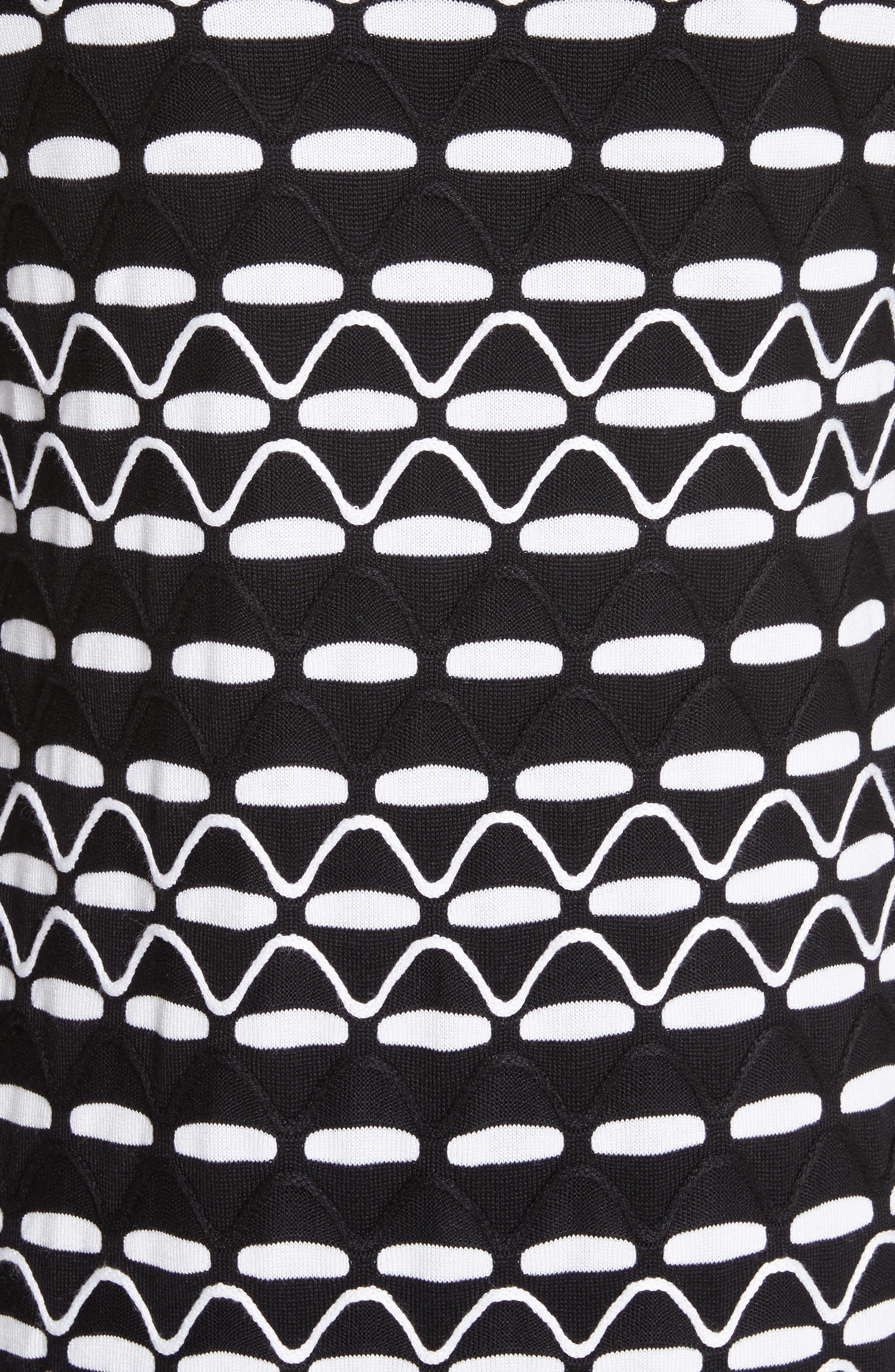 Textural Wave Knit Cardigan,                             Alternate thumbnail 5, color,                             001