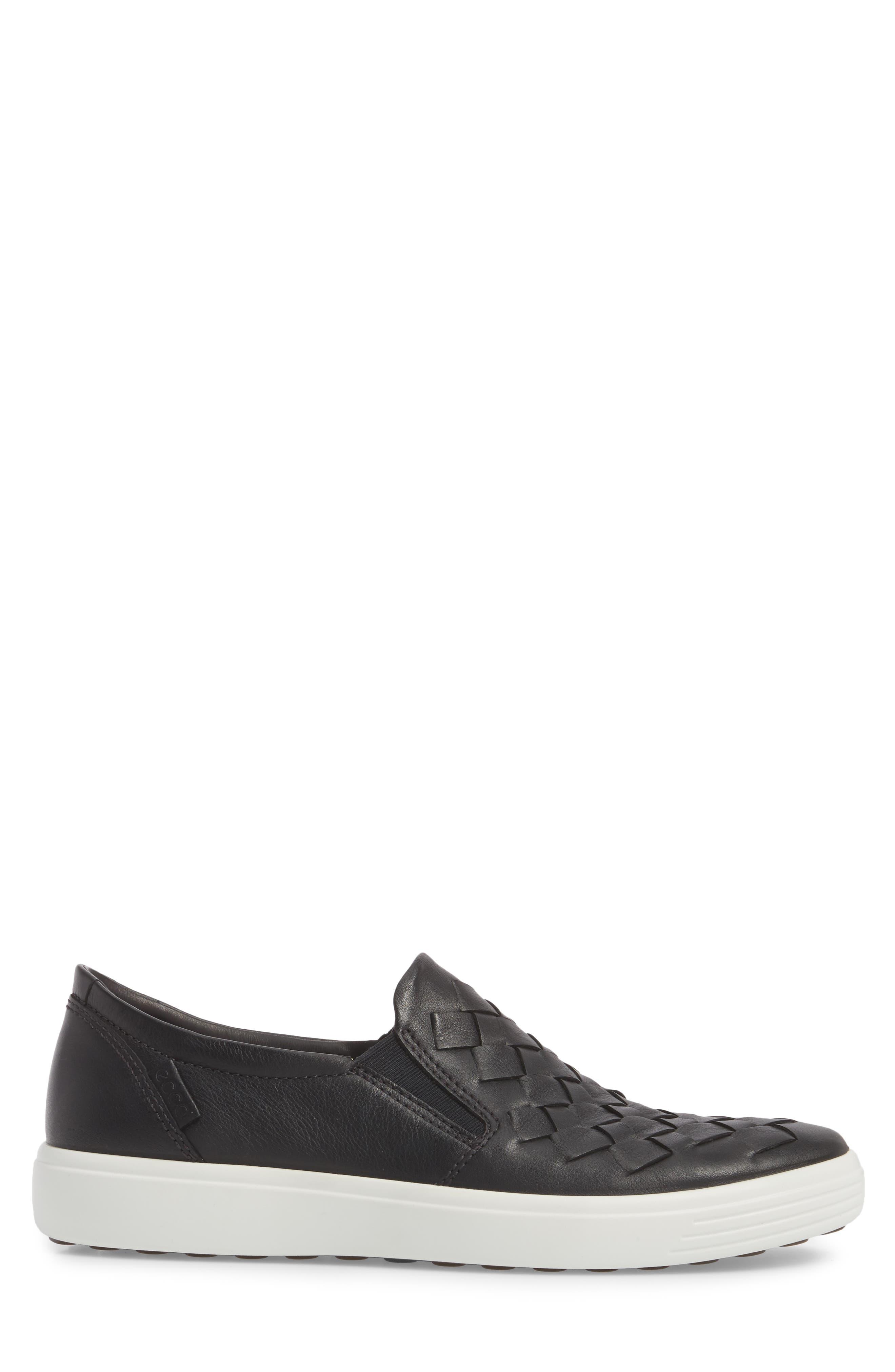 Soft 7 Woven Slip-On Sneaker,                             Alternate thumbnail 3, color,                             BLACK LEATHER