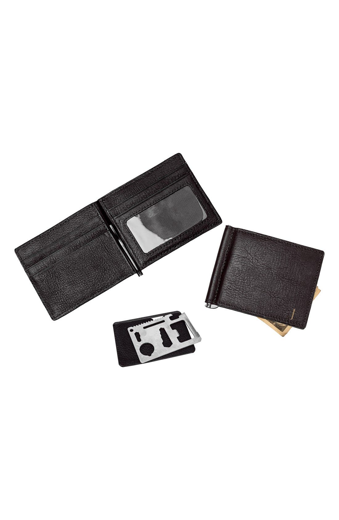 Monogram Leather Wallet & Money Clip,                             Alternate thumbnail 2, color,                             BLACK - BLANK