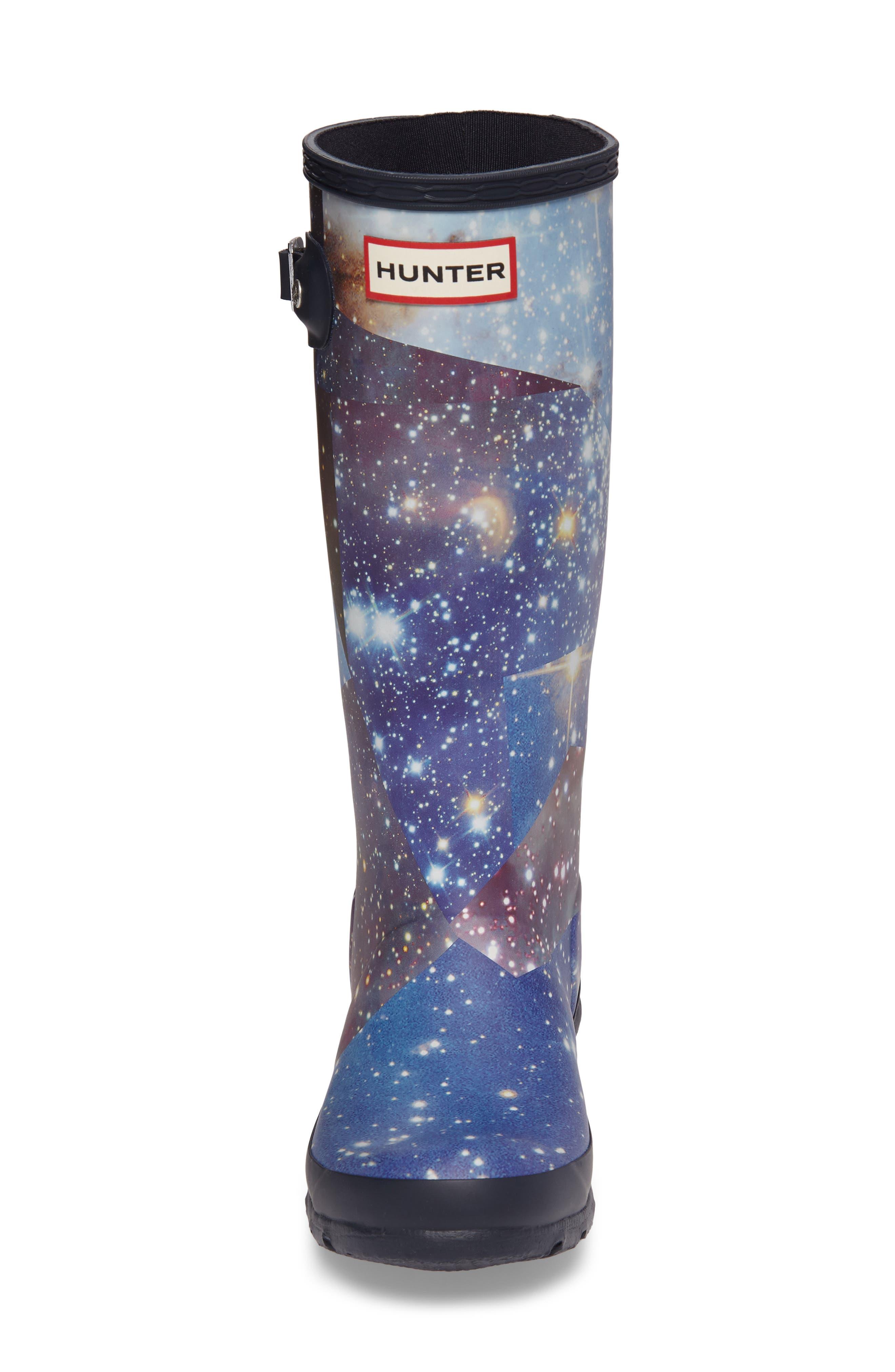 Space Camo Waterproof Rain Boot,                             Alternate thumbnail 4, color,