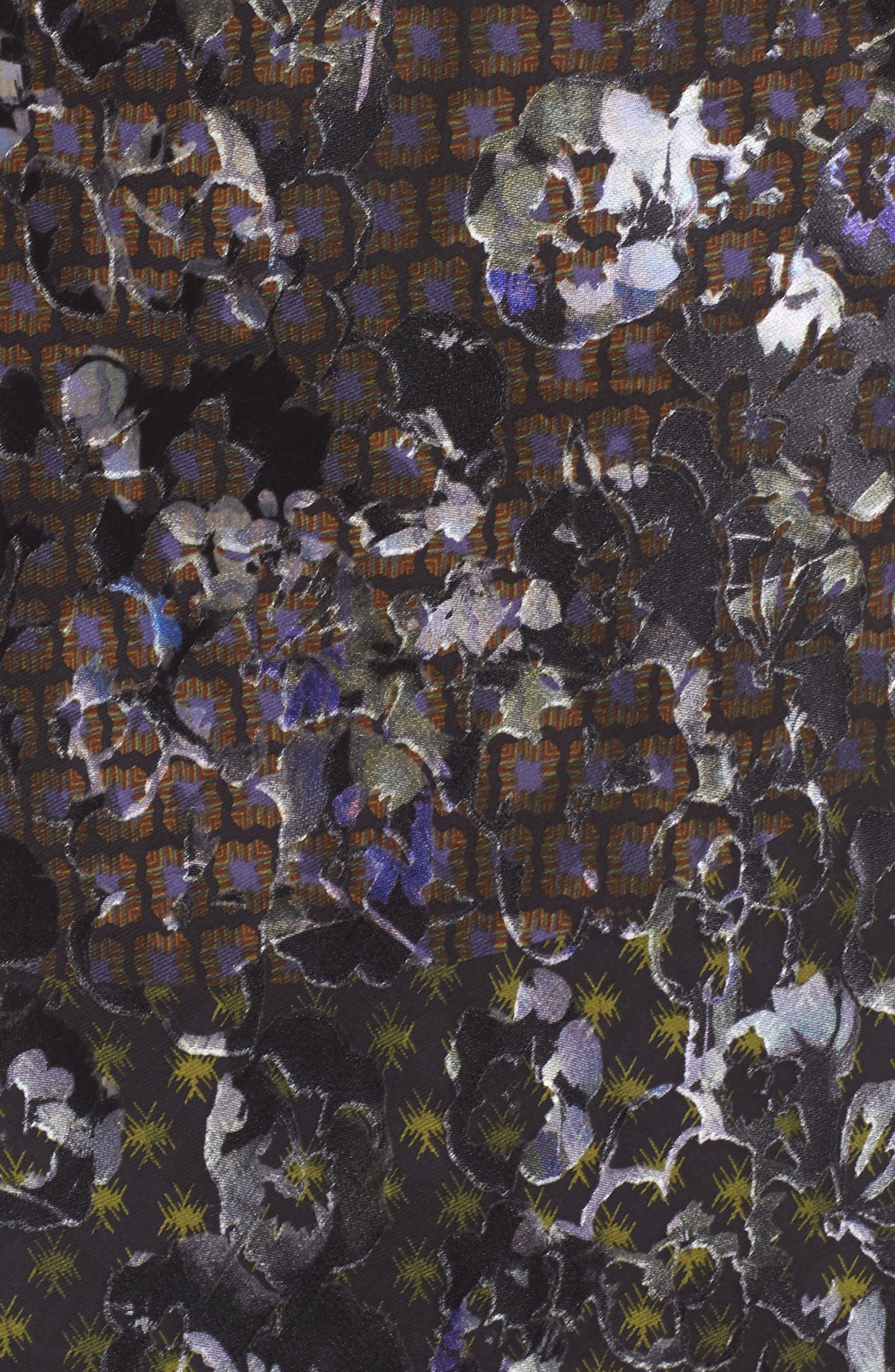 Puff Sleeve Devore Jacquard Midi Dress,                             Alternate thumbnail 5, color,                             001