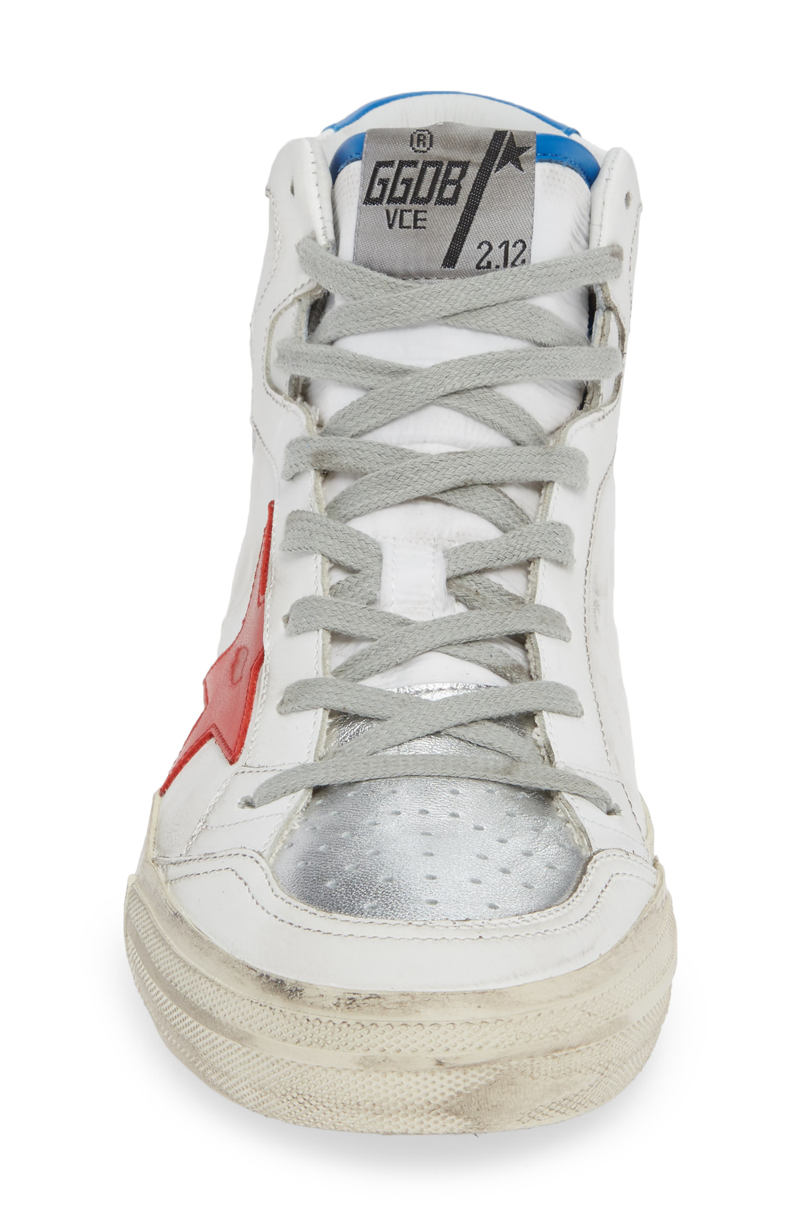 2.12 Star High Top Sneaker,                             Alternate thumbnail 4, color,                             WHITE LEATHER- RED STAR