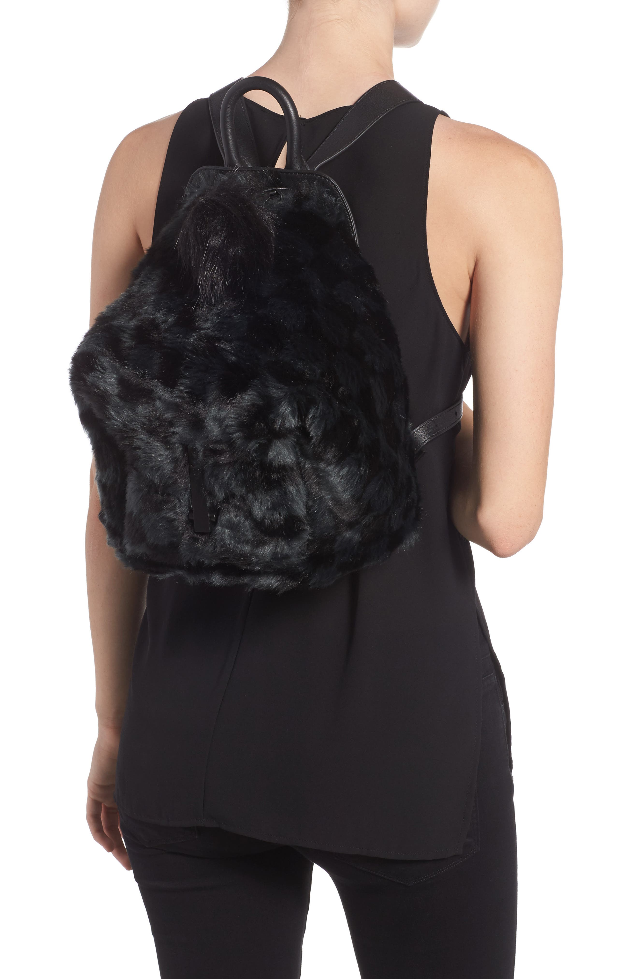 Koenji Faux Fur Backpack,                             Alternate thumbnail 2, color,                             004