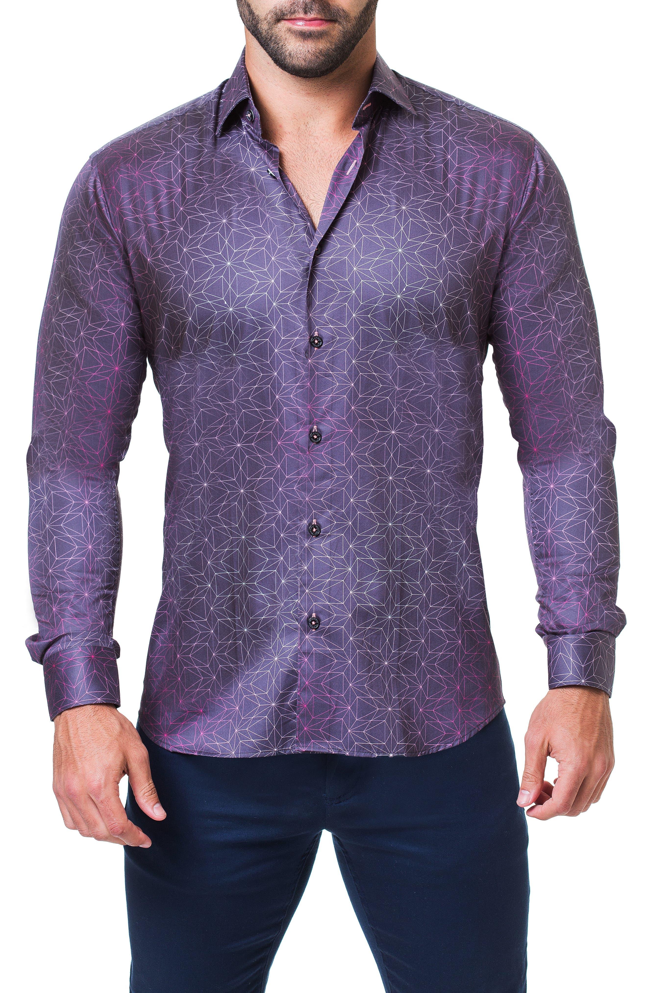Fibonacci Star Print Sport Shirt,                             Main thumbnail 1, color,                             BLUE