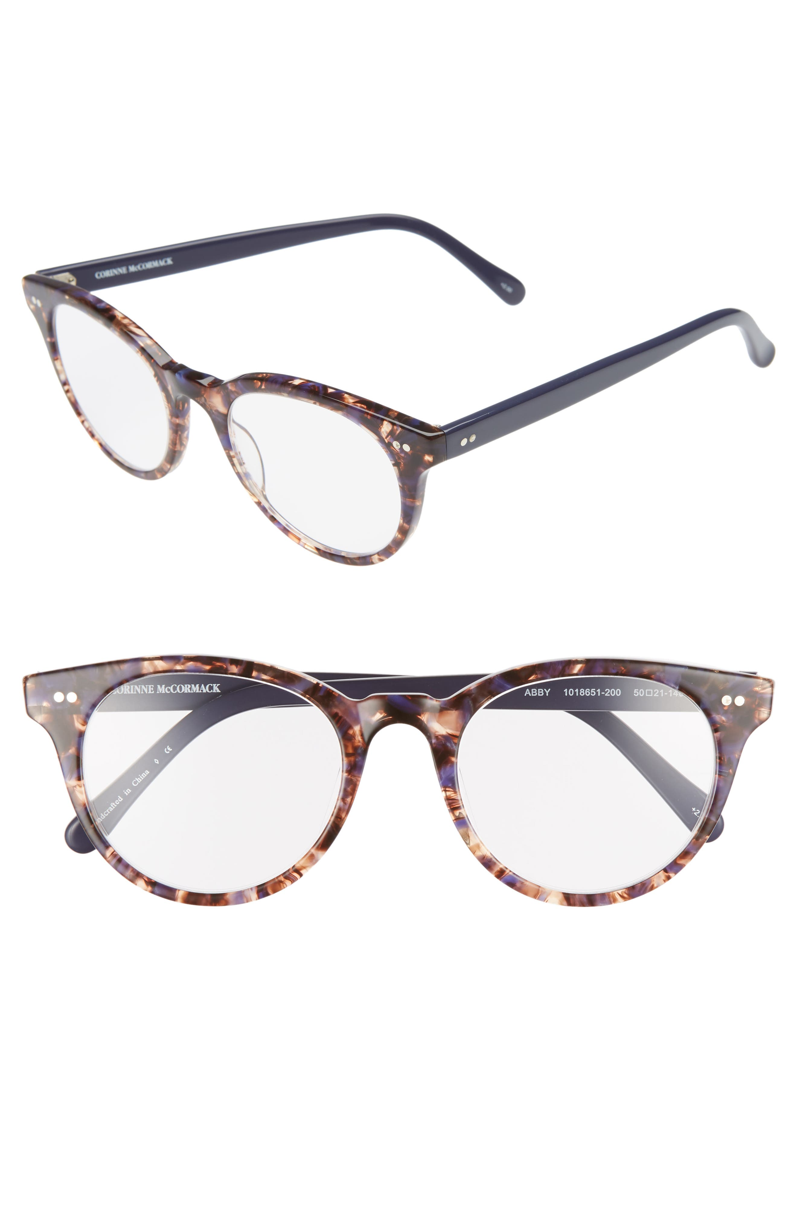 Abby 50mm Reading Glasses,                         Main,                         color, TORTOISE/ NAVY BLUE
