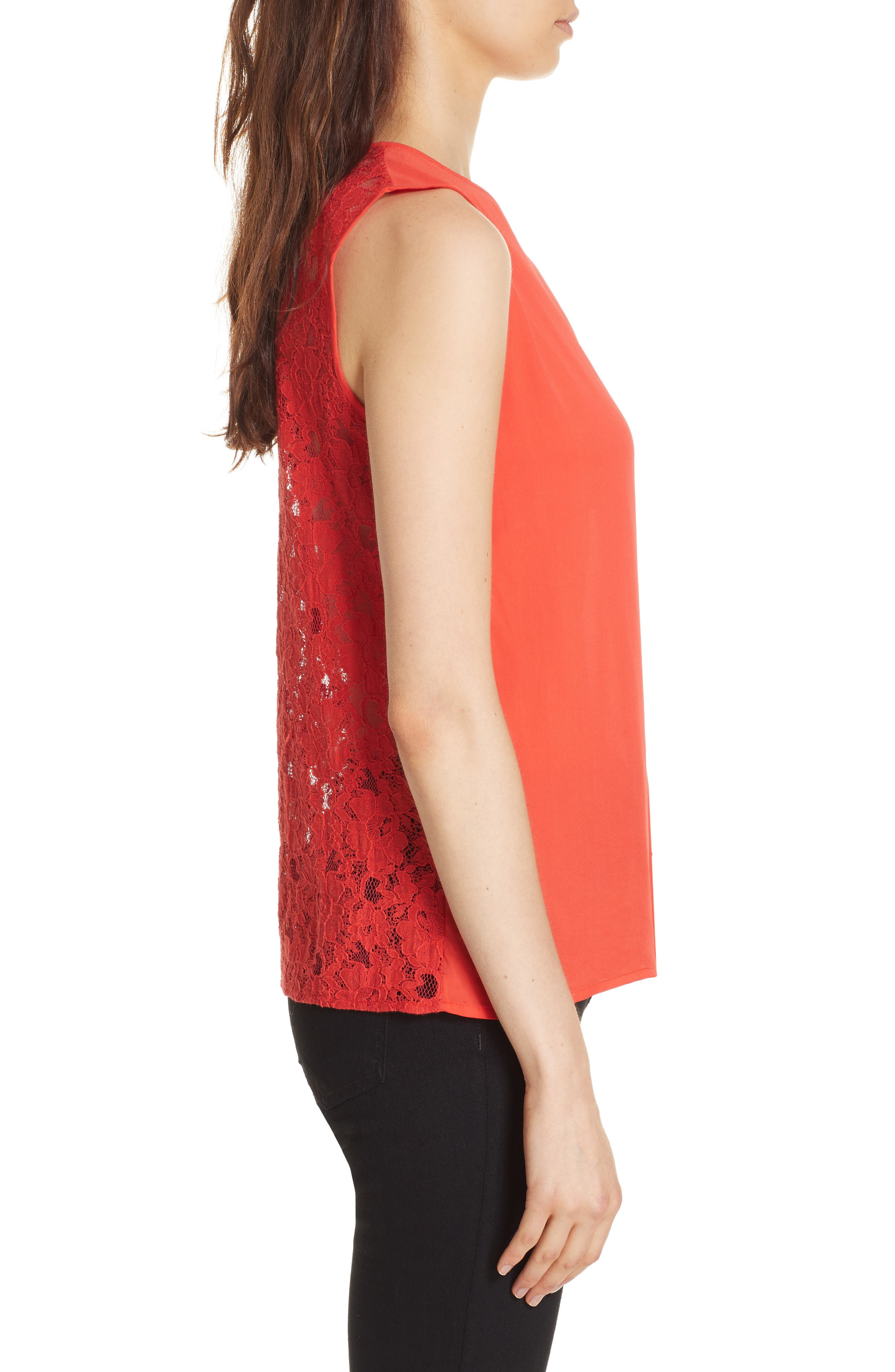 Mixed Media Lace Back Tank,                             Alternate thumbnail 3, color,                             CORAL RED