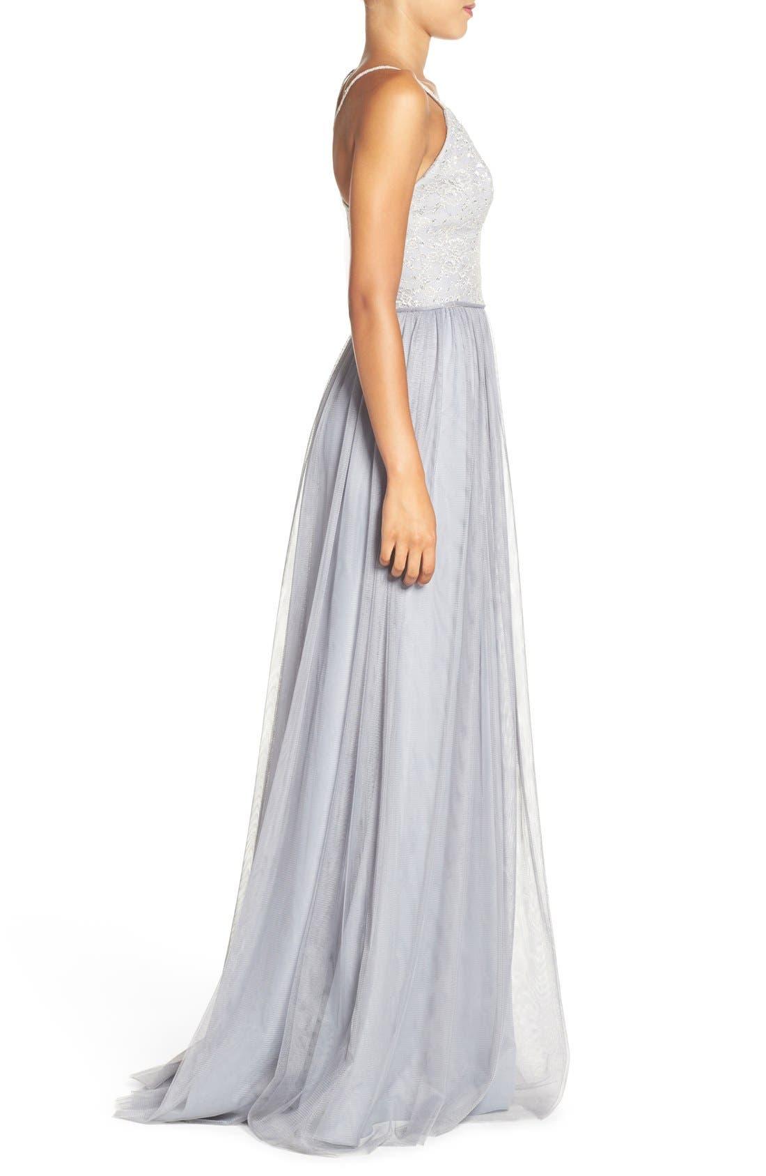 Metallic Lace & Tulle Spaghetti Strap Gown,                             Alternate thumbnail 3, color,                             040