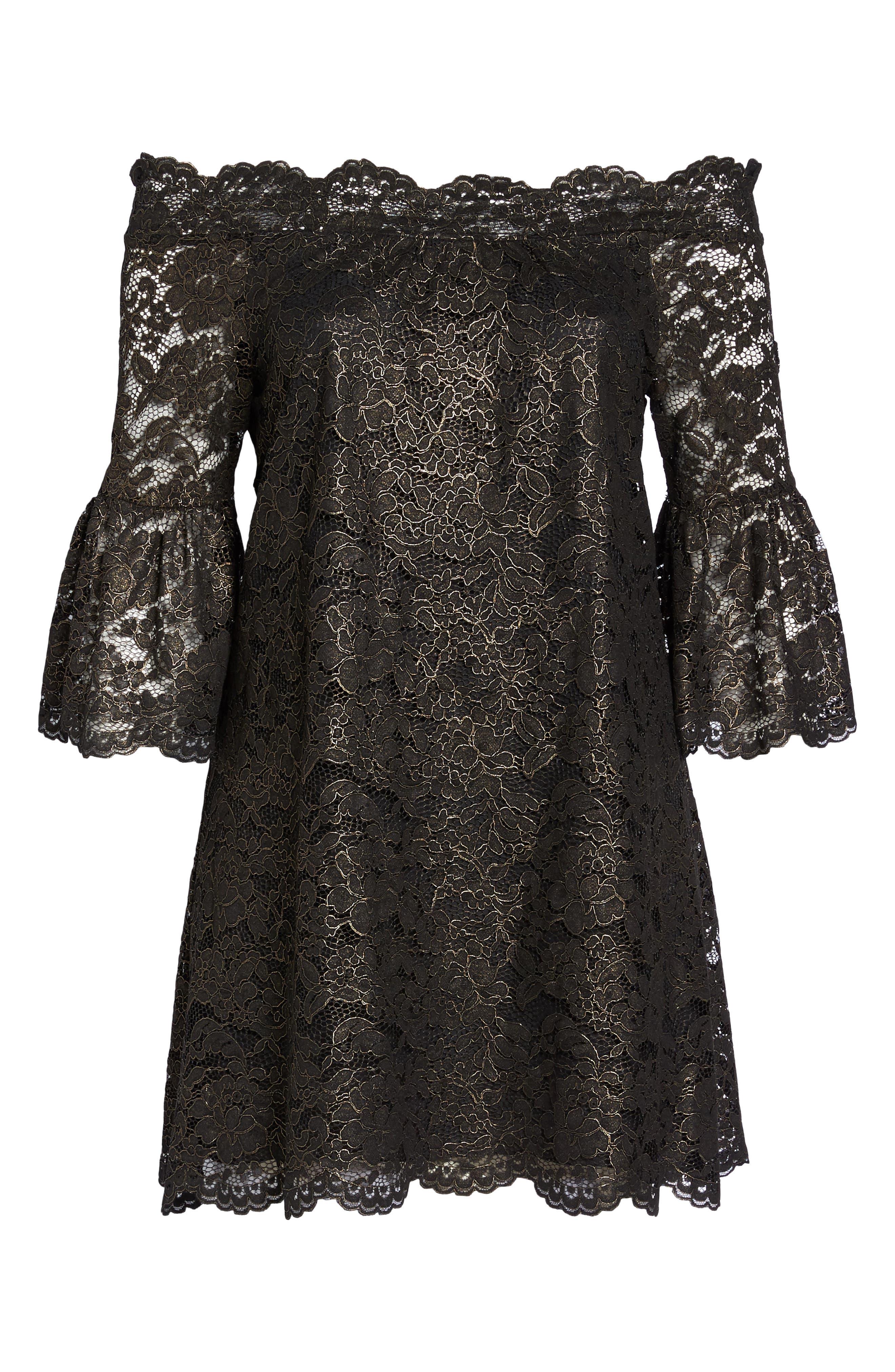 Off the Shoulder Black Gold Lace Dress,                             Alternate thumbnail 6, color,                             005