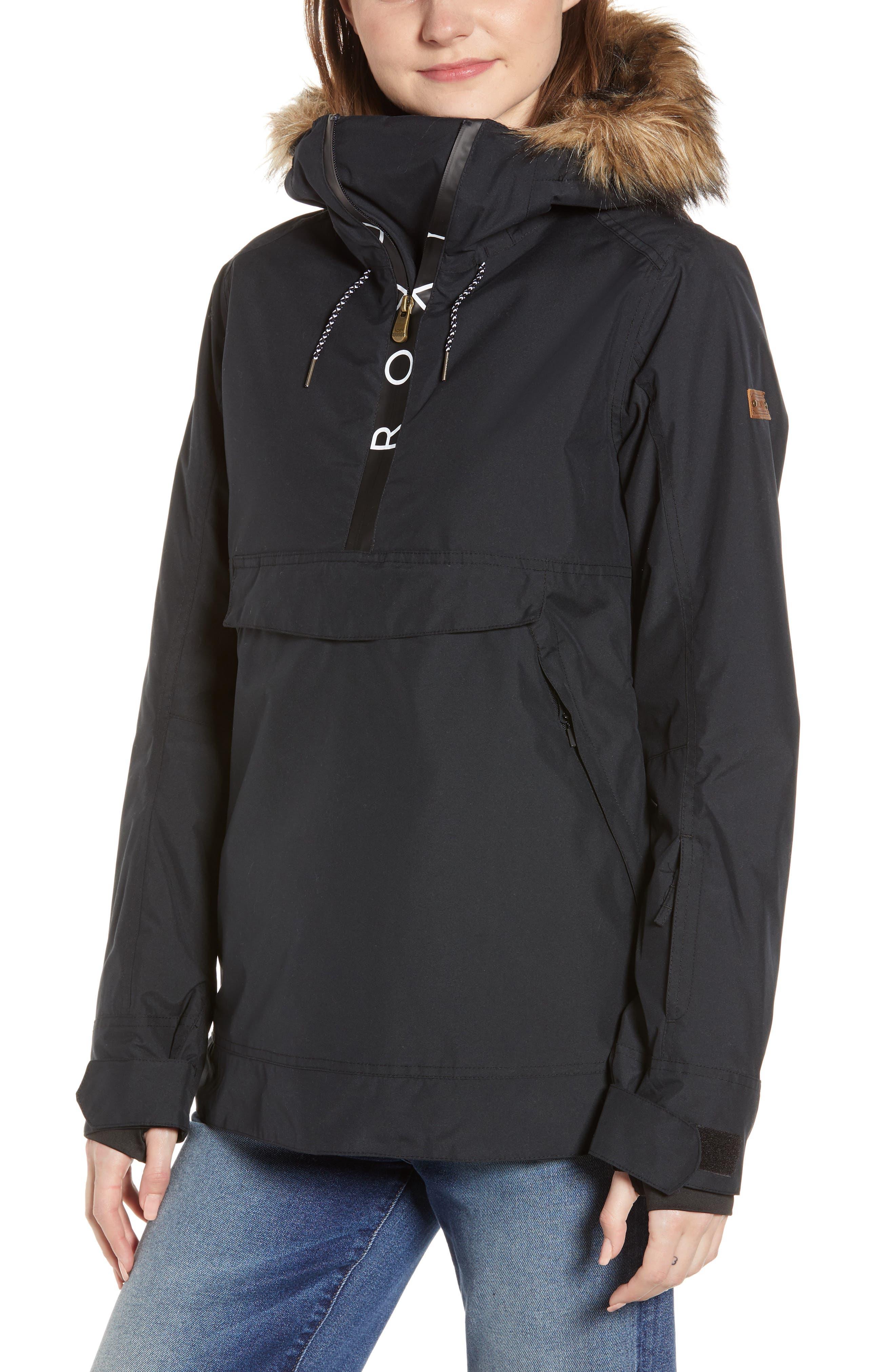 ROXY Shelter Faux Fur Hood Anorak, Main, color, TRUE BLACK