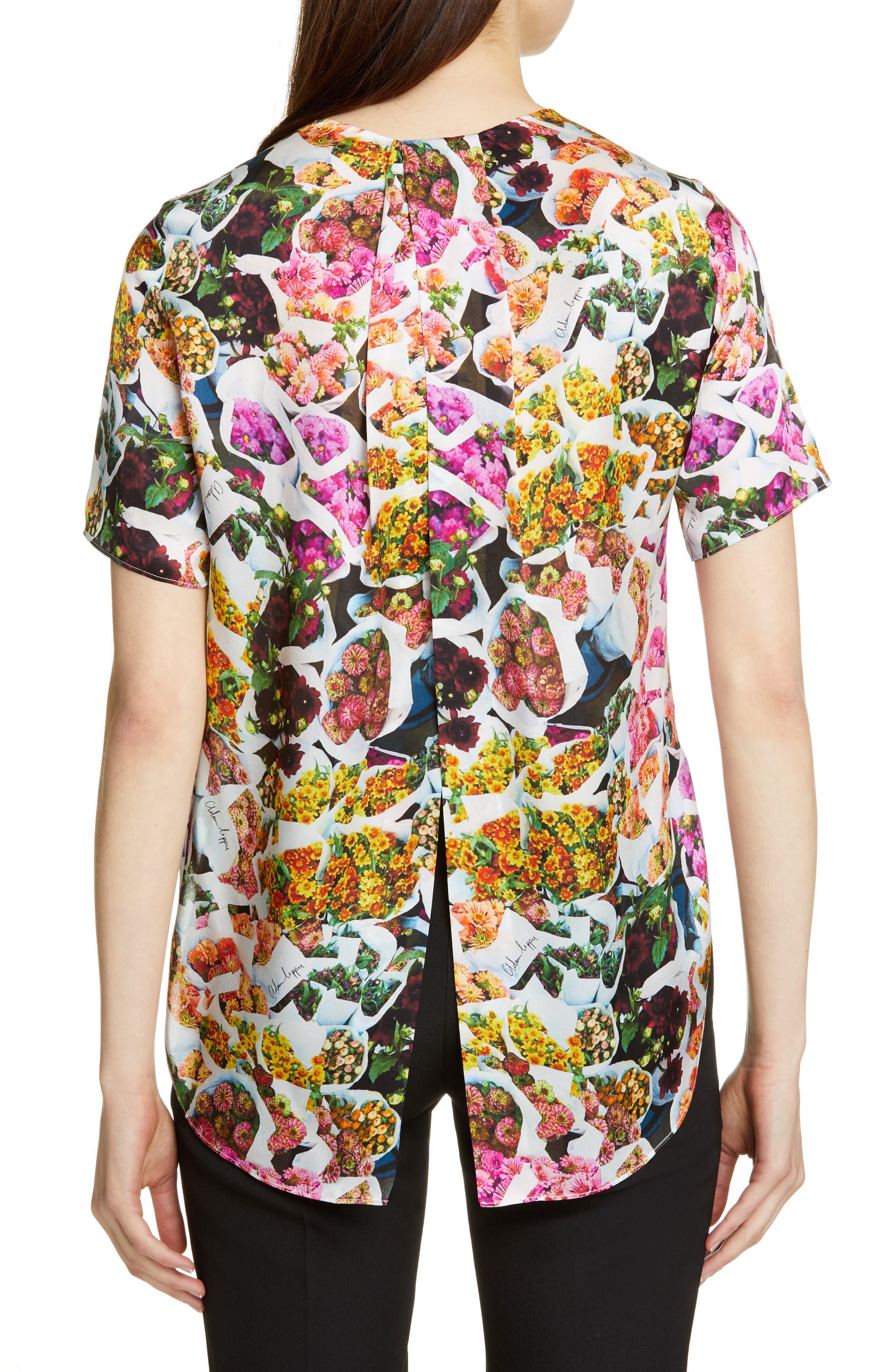 ADAM LIPPES,                             Floral Print Satin Top,                             Alternate thumbnail 2, color,                             FLORAL MULTI