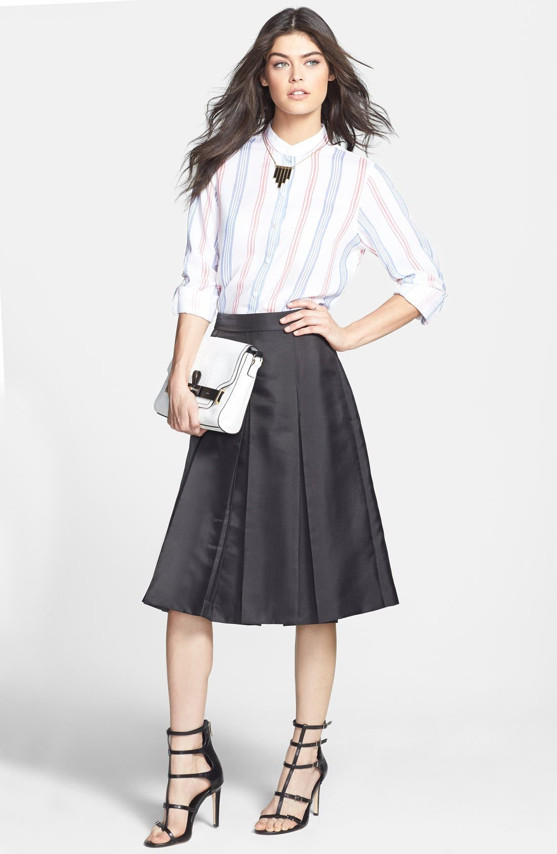 Pleat Midi Skirt,                             Alternate thumbnail 4, color,                             001