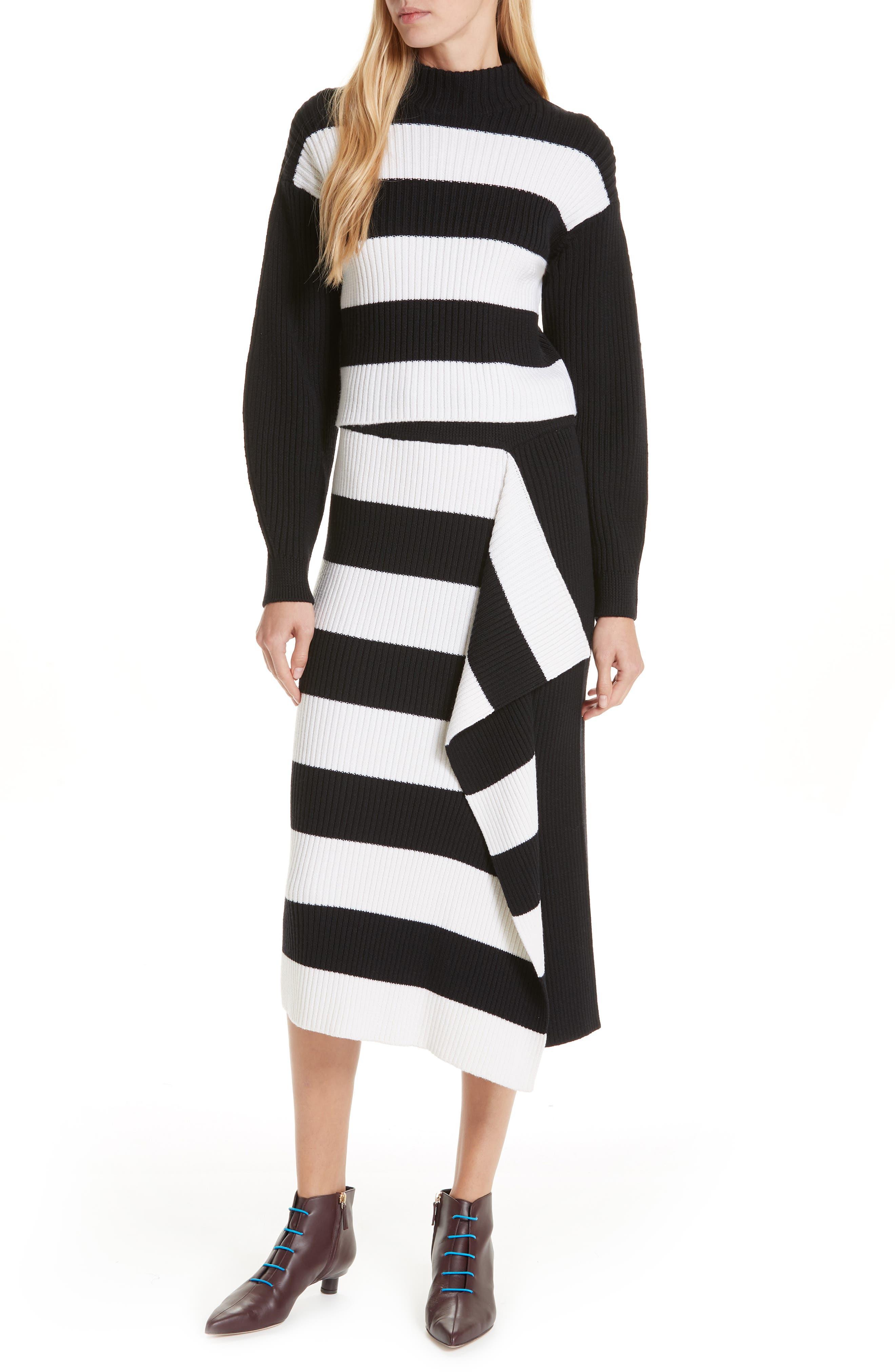 Origami Flap Stripe Midi Skirt,                             Alternate thumbnail 7, color,                             BLACK/ WHITE MULTI