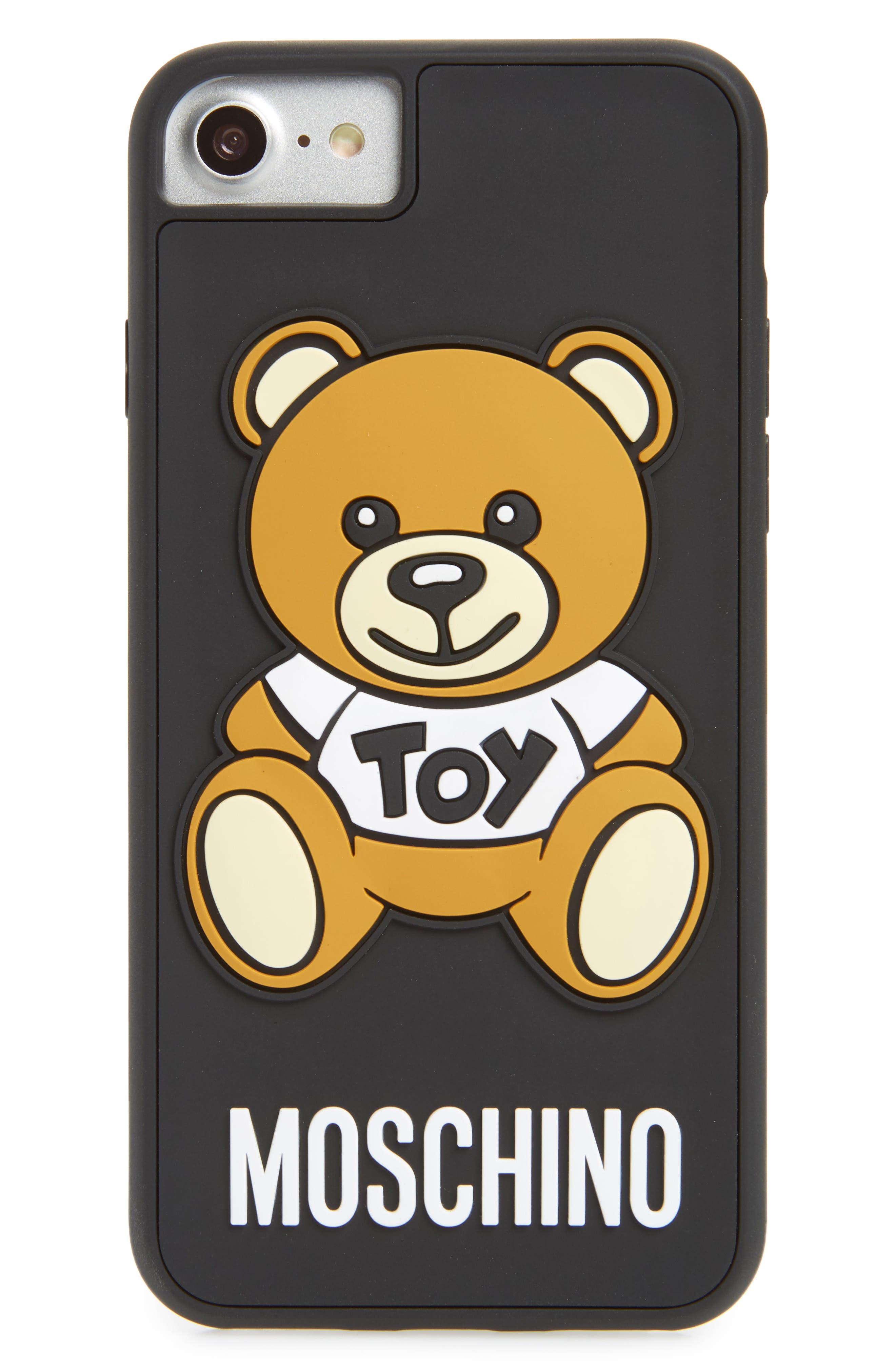 Teddy Bear iPhone 7/8 Case,                             Main thumbnail 1, color,                             BLACK