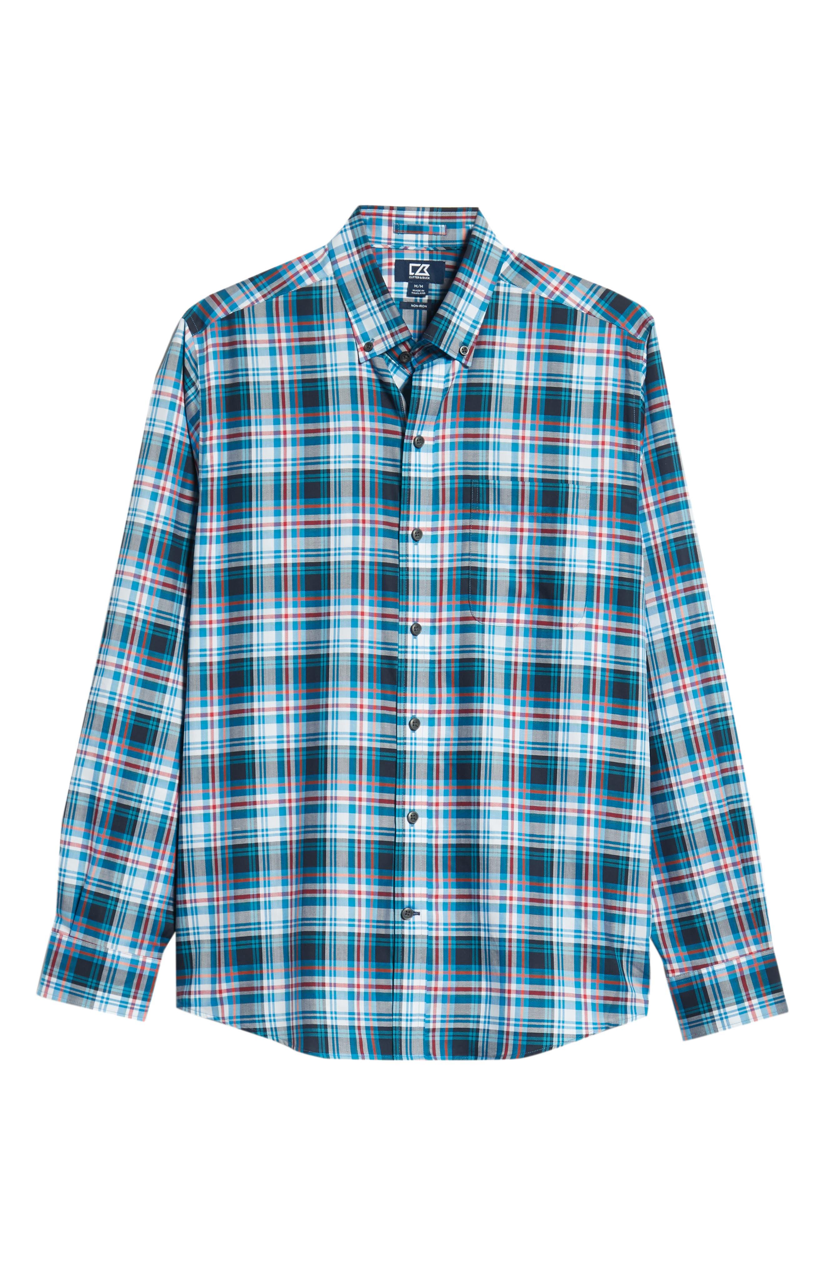 Brad Regular Fit Non-Iron Plaid Sport Shirt,                             Alternate thumbnail 5, color,                             LIBERTY NAVY