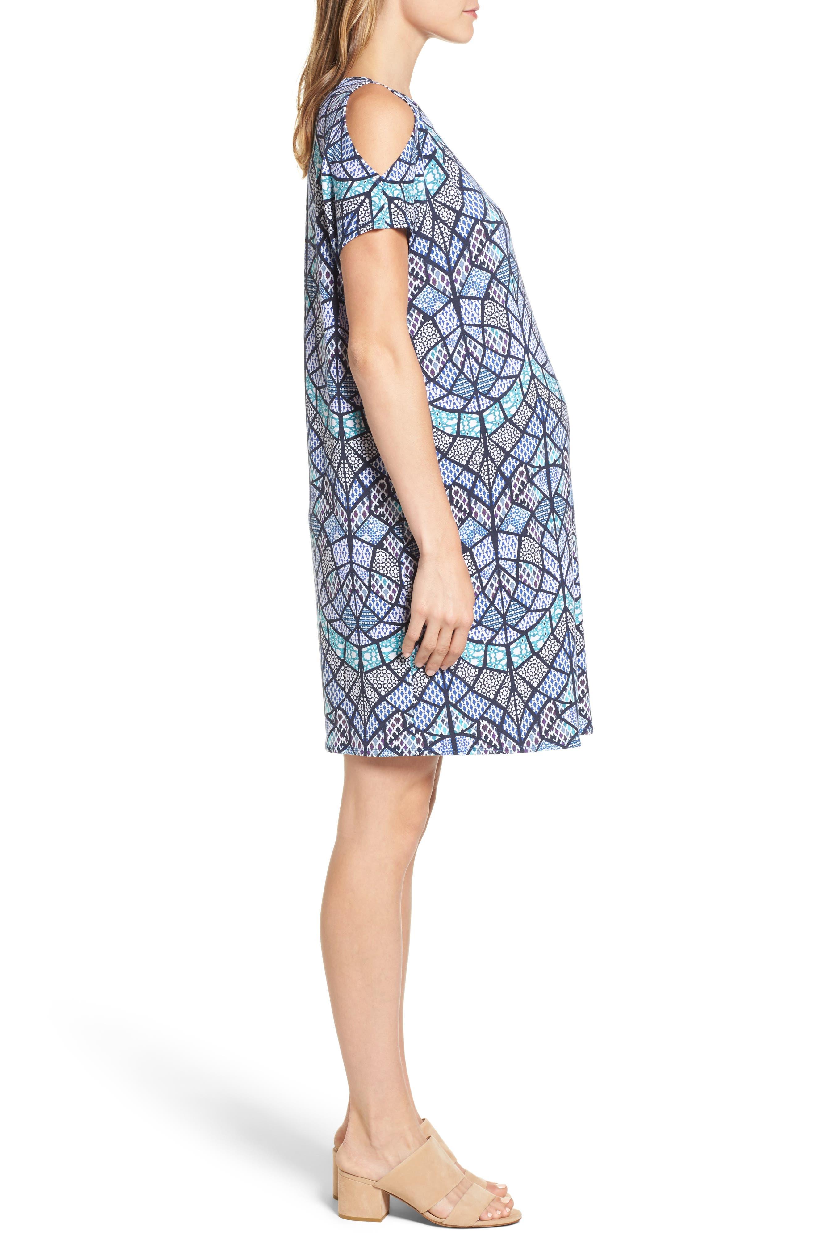 Caia Cold Shoulder Maternity Dress,                             Alternate thumbnail 3, color,                             TILE MOSAIC