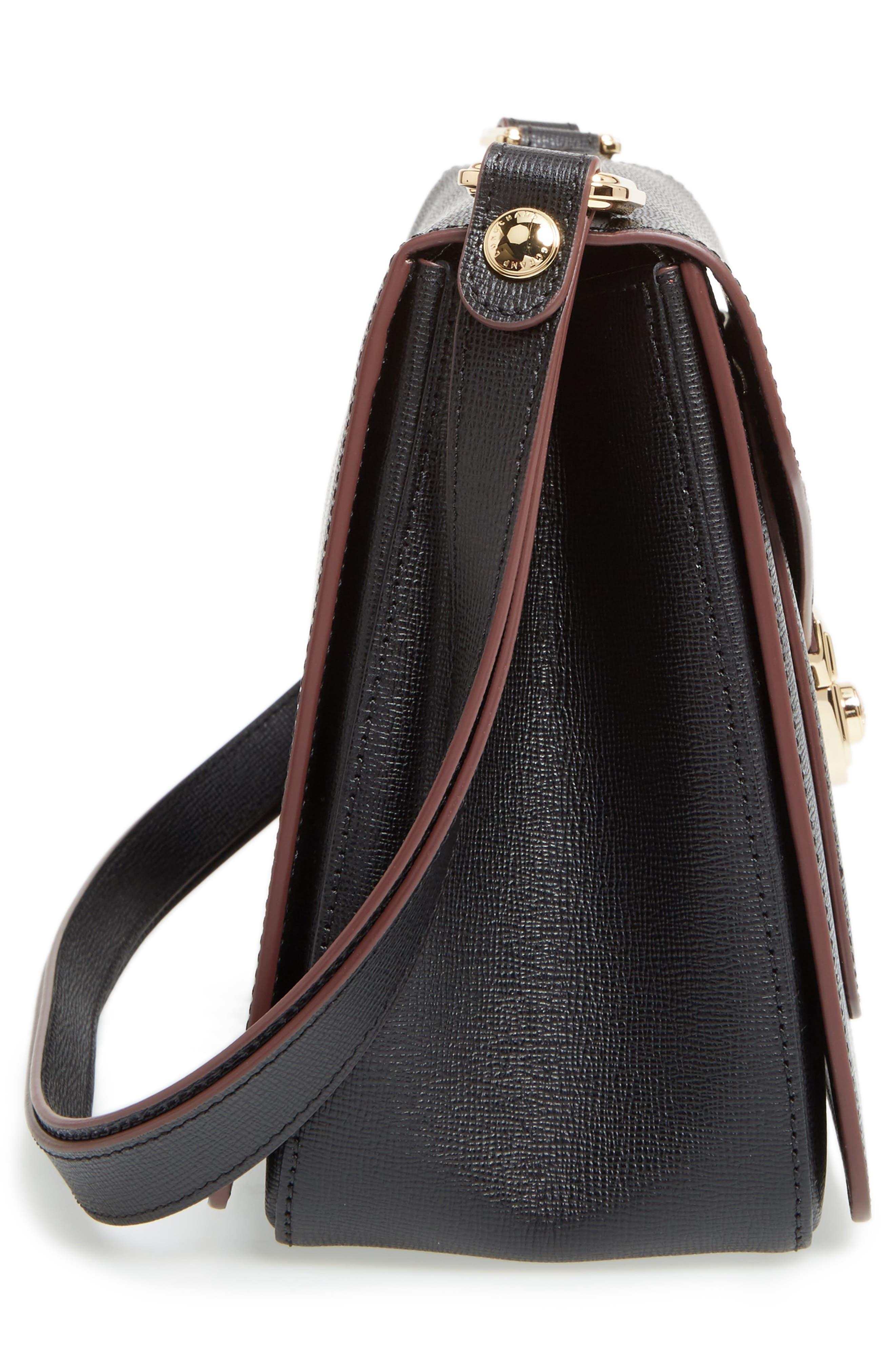 Pliage Heritage Leather Shoulder Bag,                             Alternate thumbnail 6, color,                             BLACK