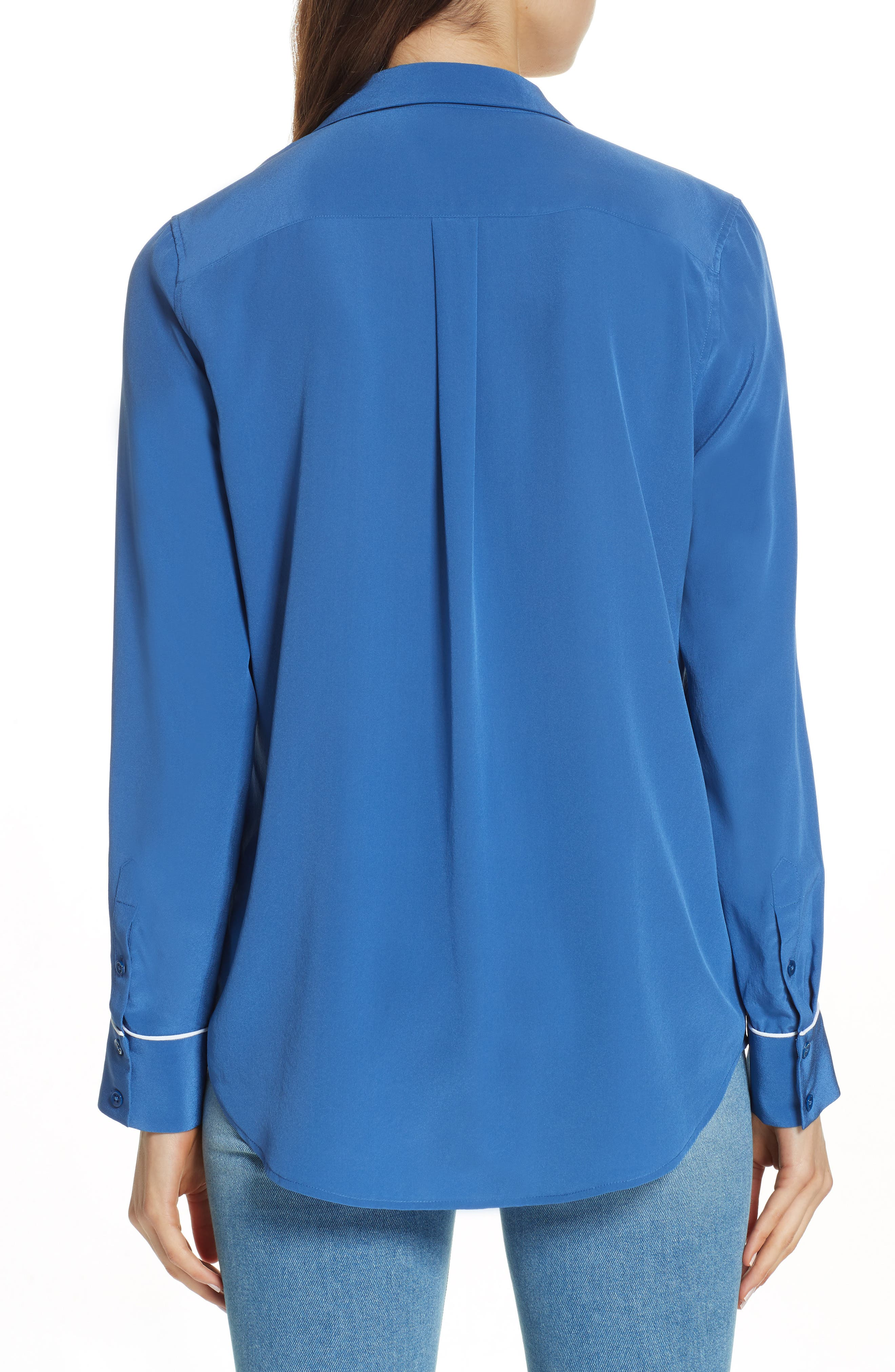 Keira Piped Silk Shirt,                             Alternate thumbnail 2, color,                             LETTERMAN BLUE