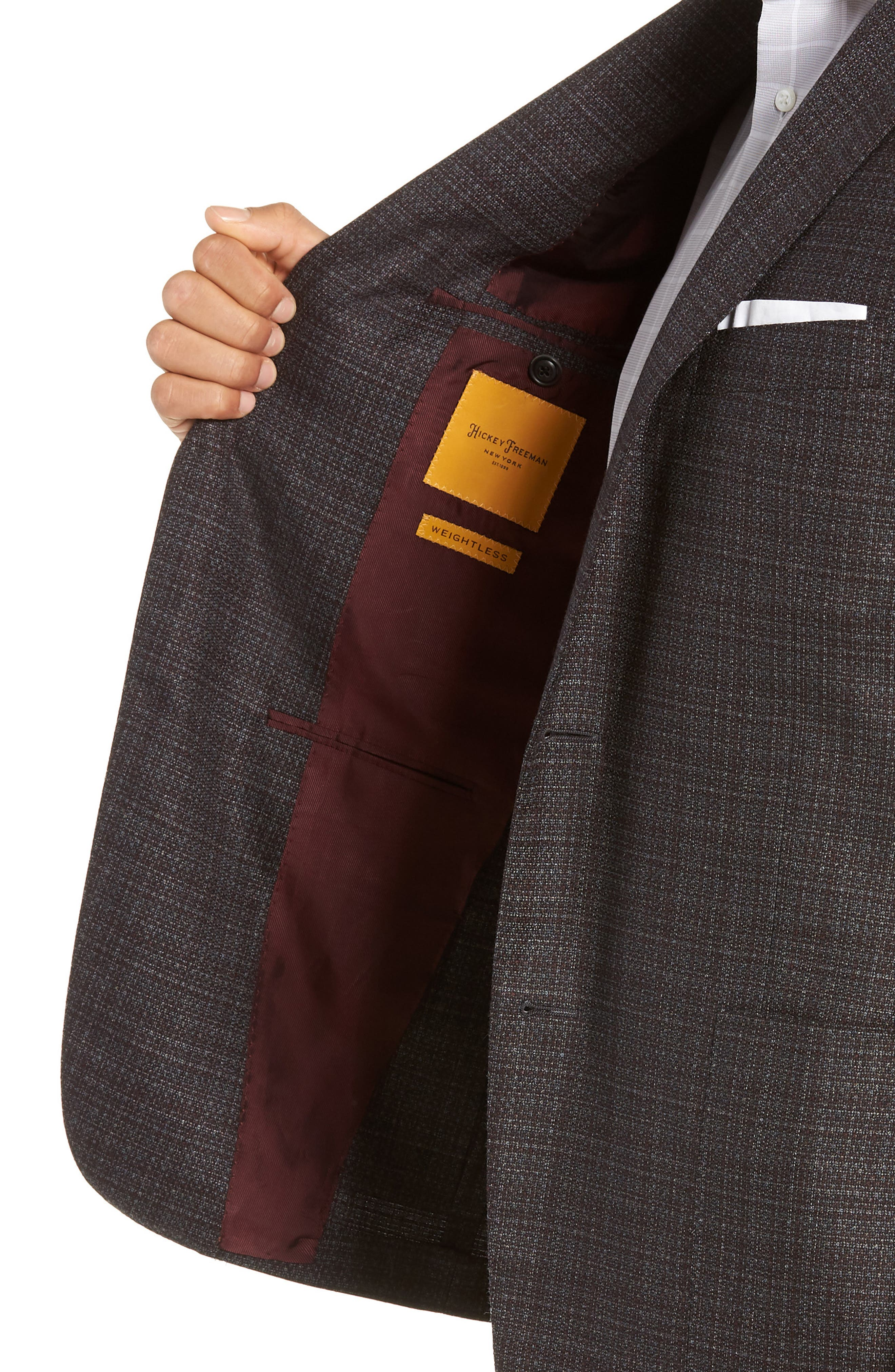 Classic Fit Plaid Wool Sport Coat,                             Alternate thumbnail 4, color,                             GREY